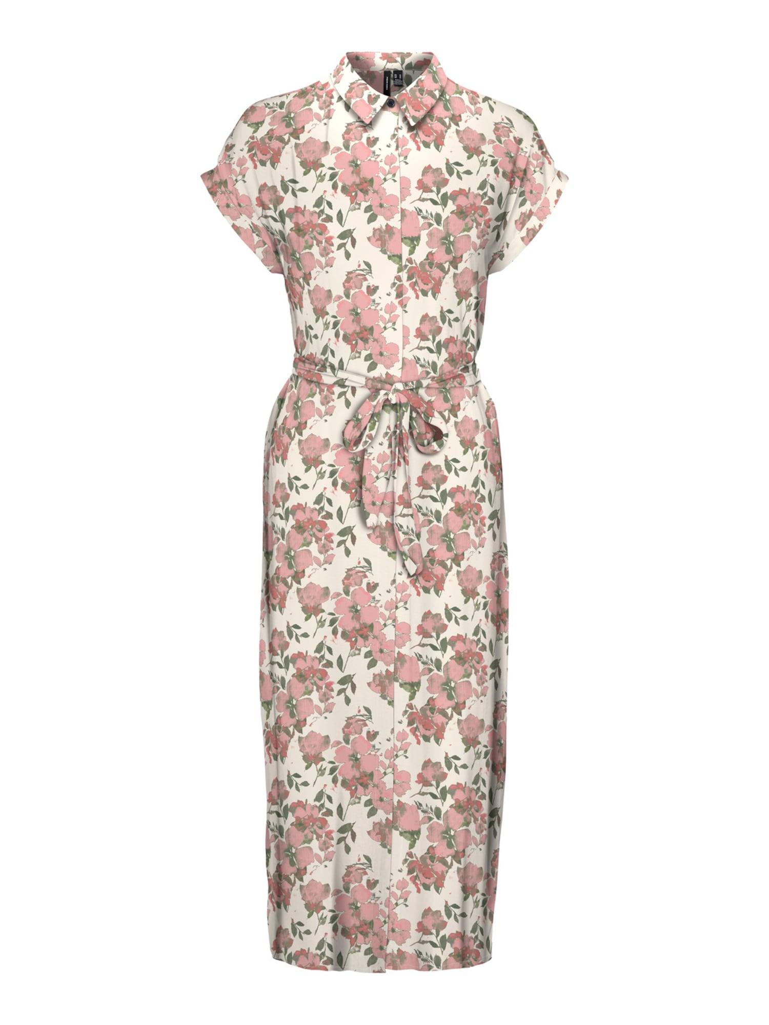 VERO MODA Košilové šaty 'Ines'  offwhite / růžová / růže / zelená