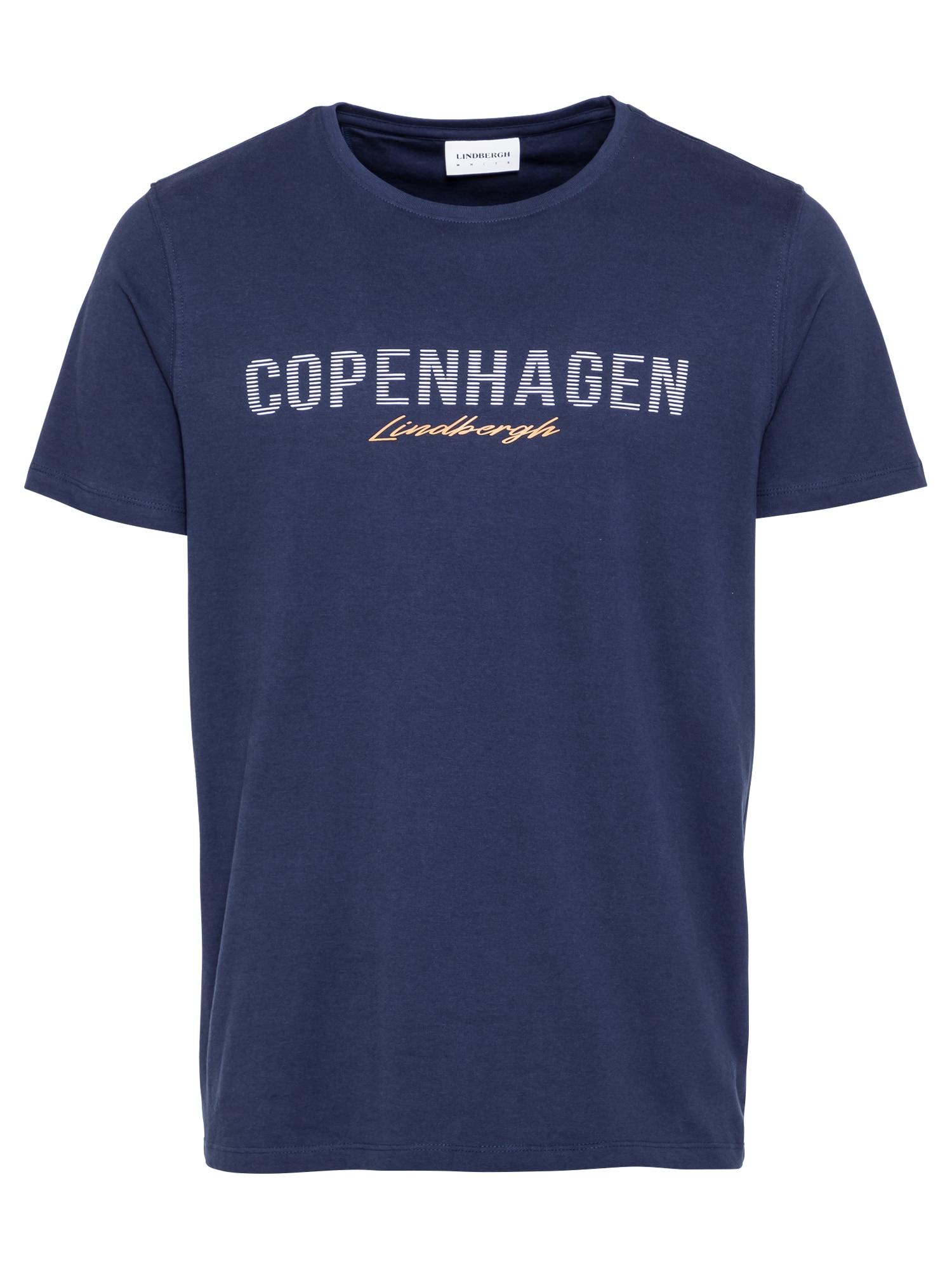 Lindbergh Marškinėliai tamsiai mėlyna / šviesiai oranžinė / balta