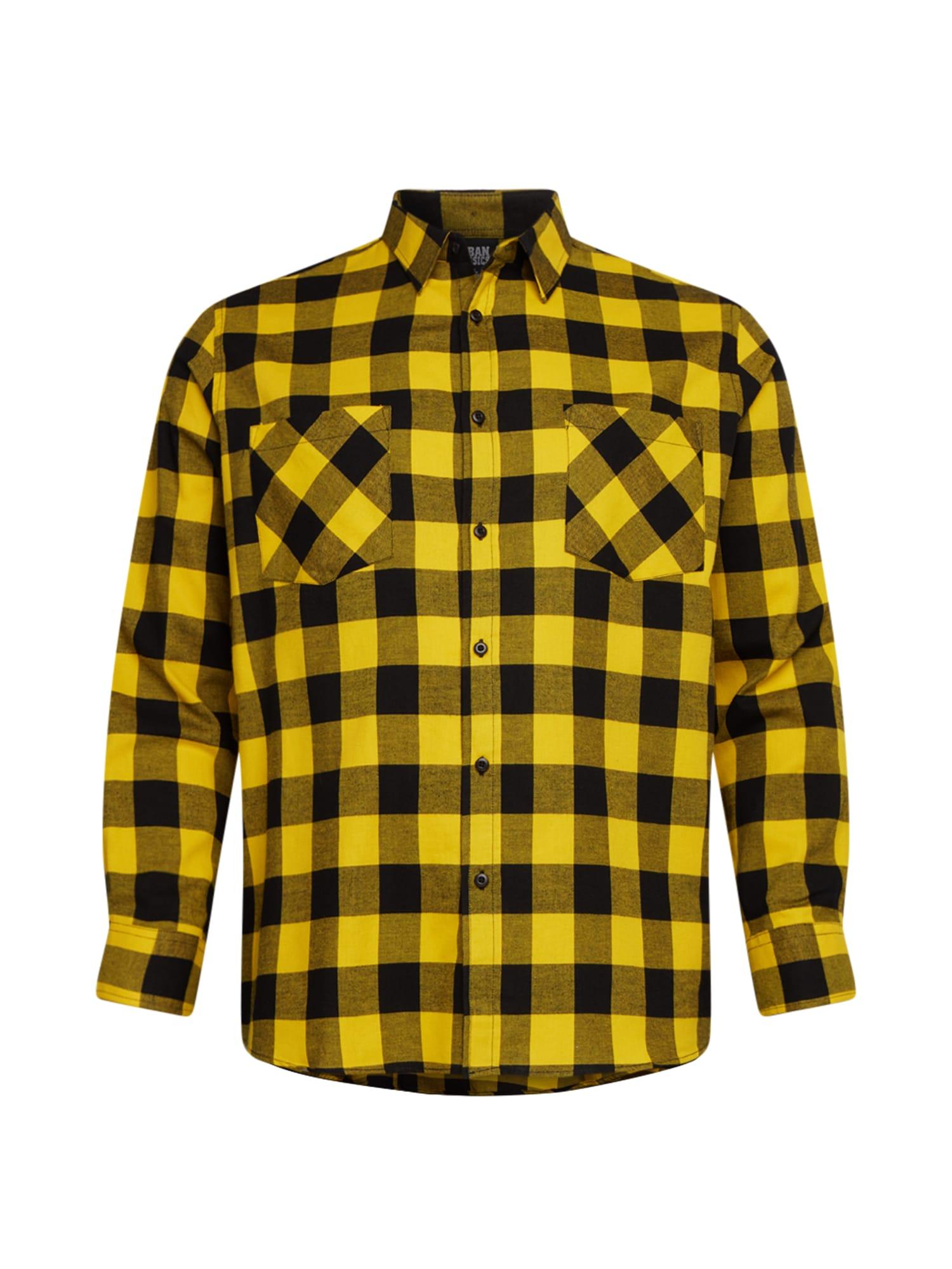 Urban Classics Big & Tall Marškiniai juoda / geltona