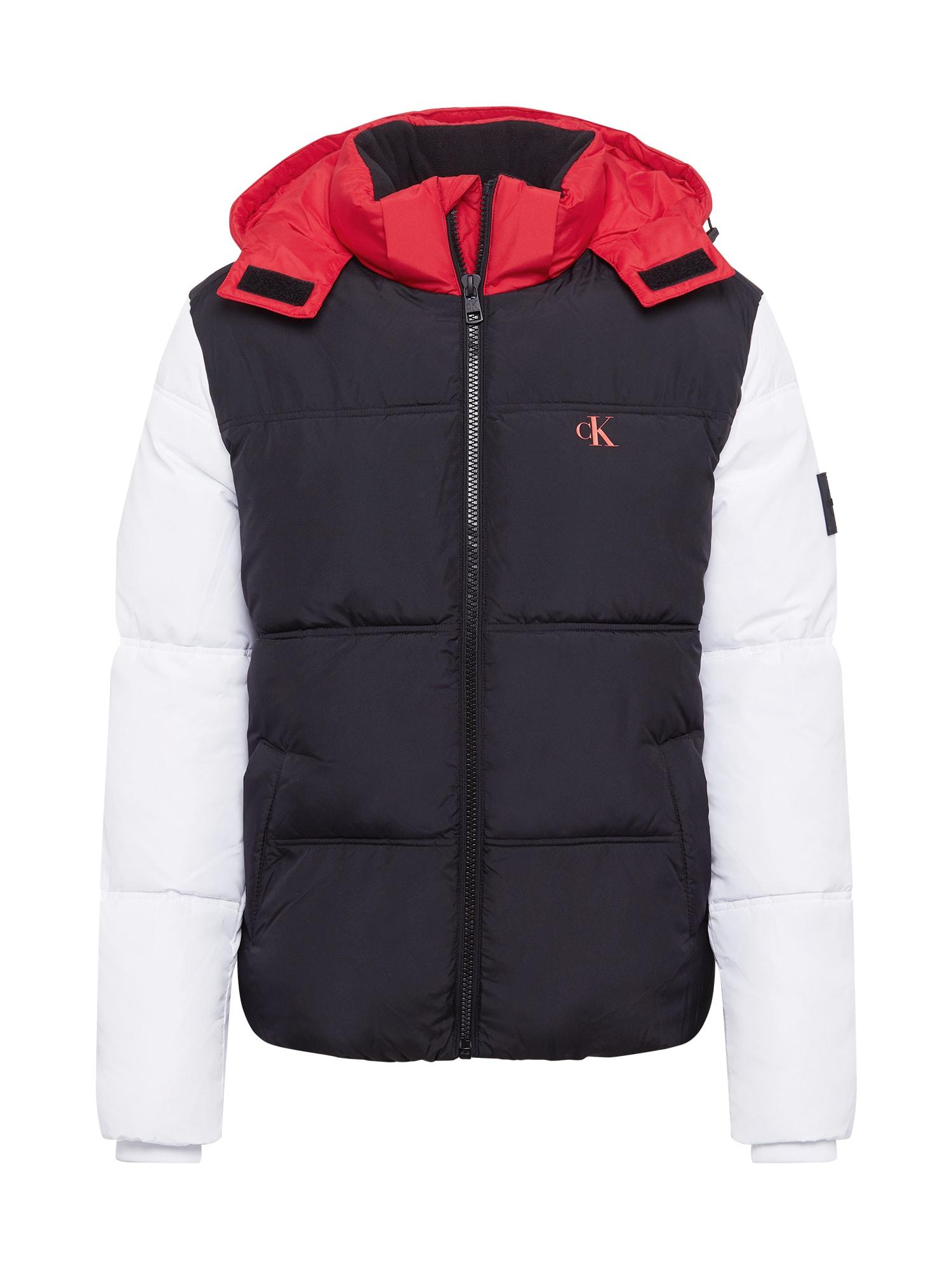 Calvin Klein Jeans Demisezoninė striukė raudona / juoda / balta
