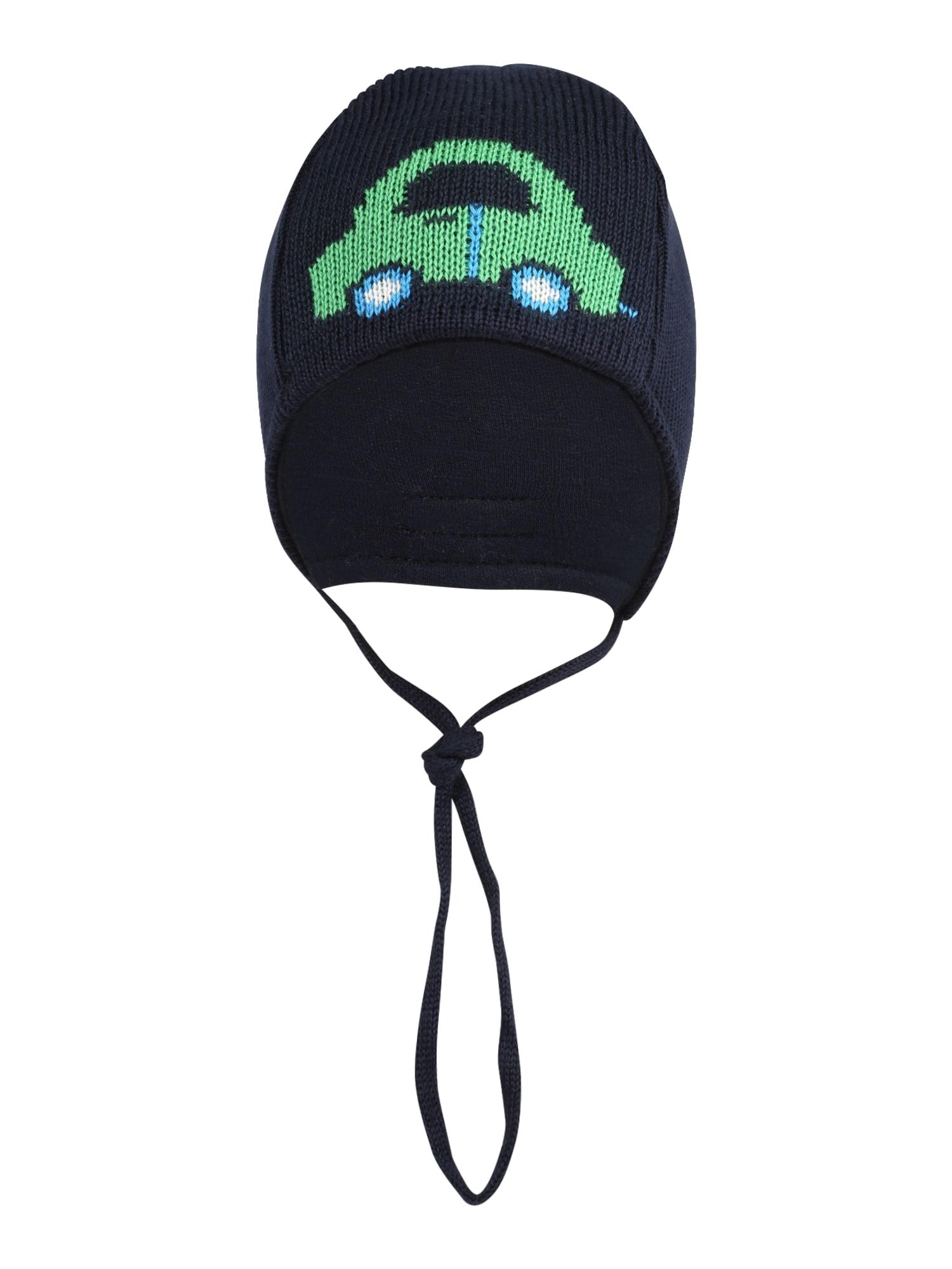 DÖLL Megzta kepurė tamsiai mėlyna / šviesiai žalia