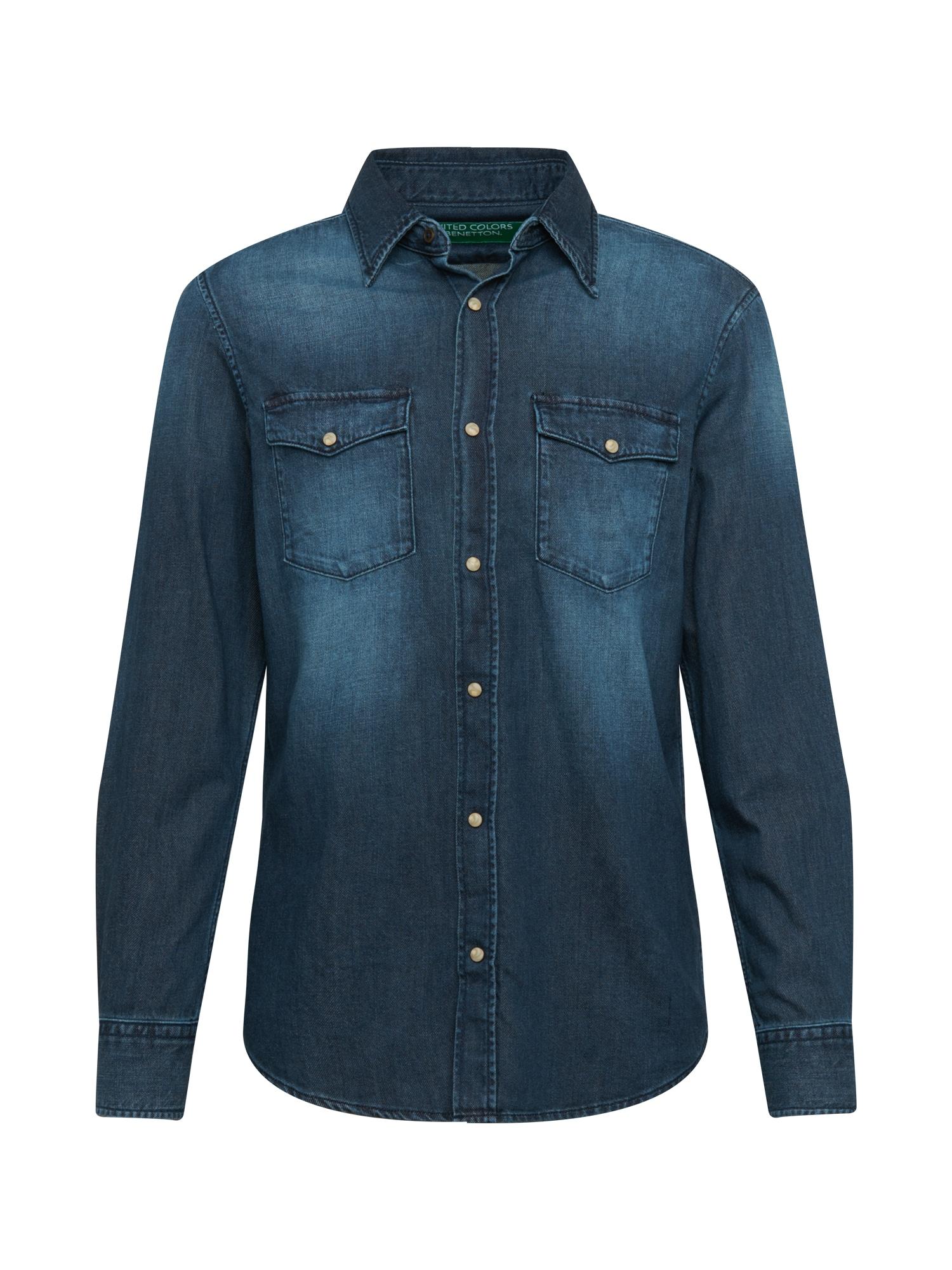 UNITED COLORS OF BENETTON Marškiniai tamsiai (džinso) mėlyna