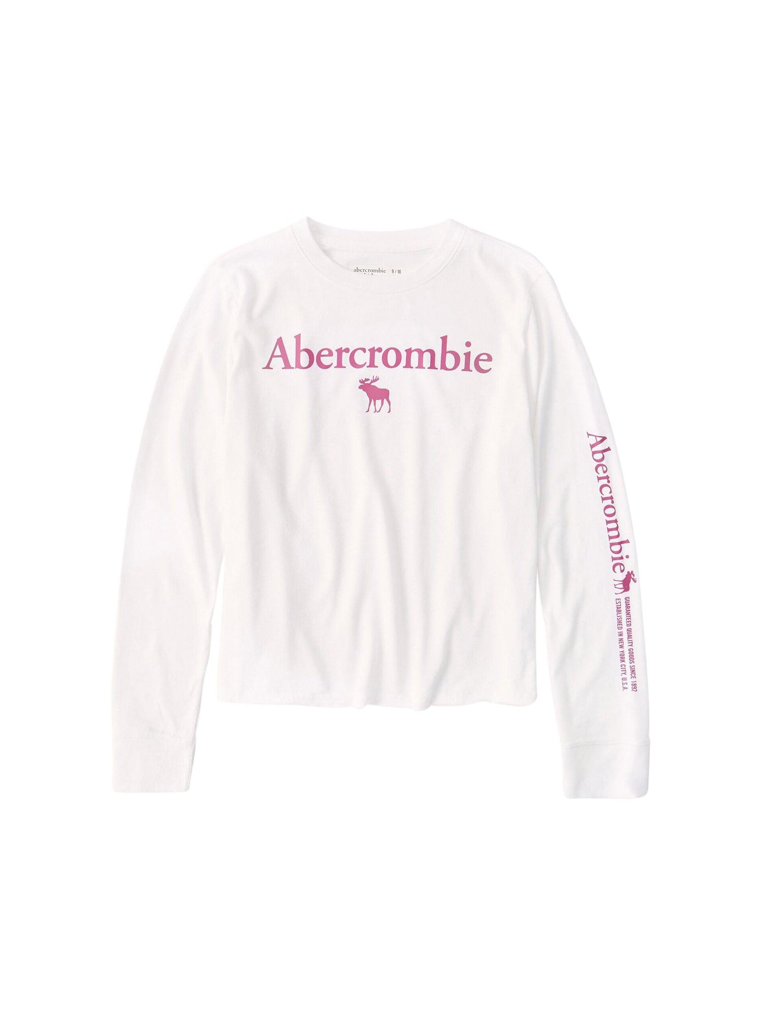 Abercrombie & Fitch Marškinėliai balta / tamsiai rožinė