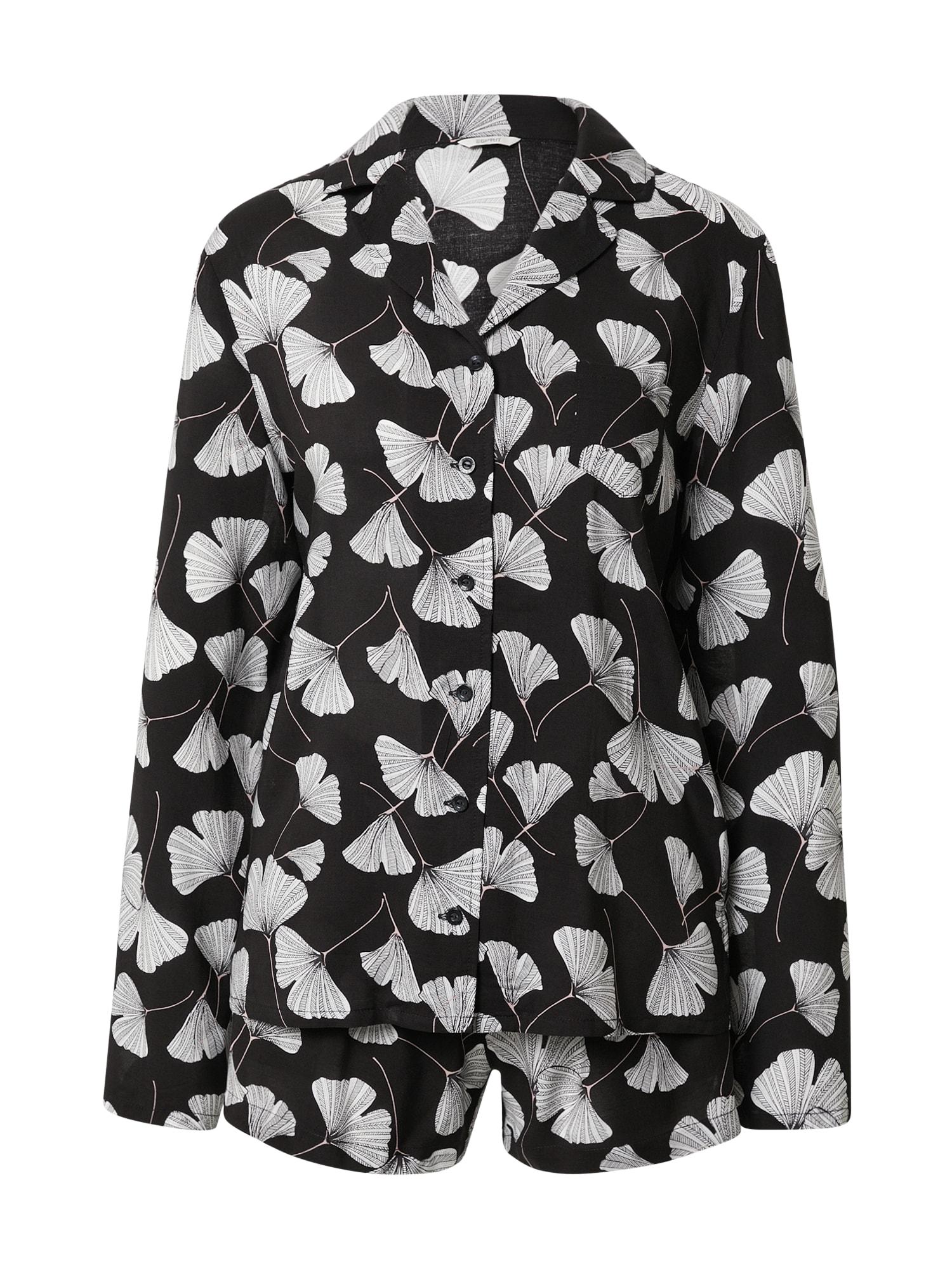 ESPRIT Pyžamo 'Hoku'  černá / bílá