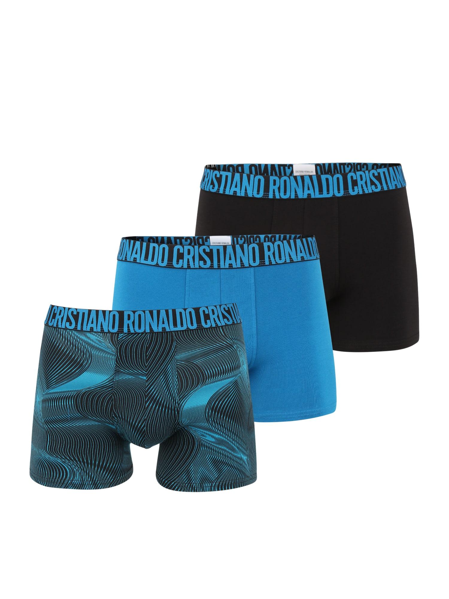CR7 - Cristiano Ronaldo Boxer trumpikės juoda / dangaus žydra / turkio spalva