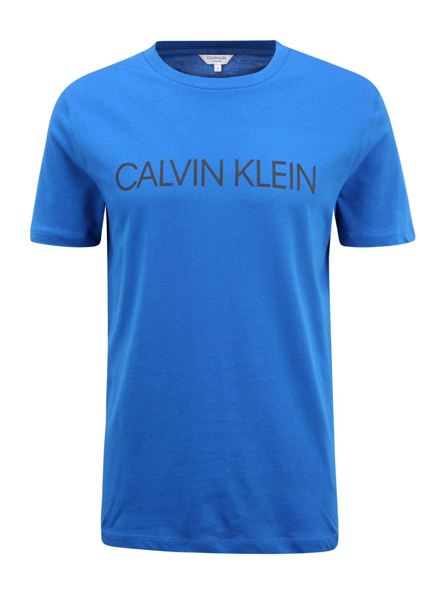 "Calvin Klein Swimwear Marškinėliai juoda / sodri mėlyna (""karališka"")"