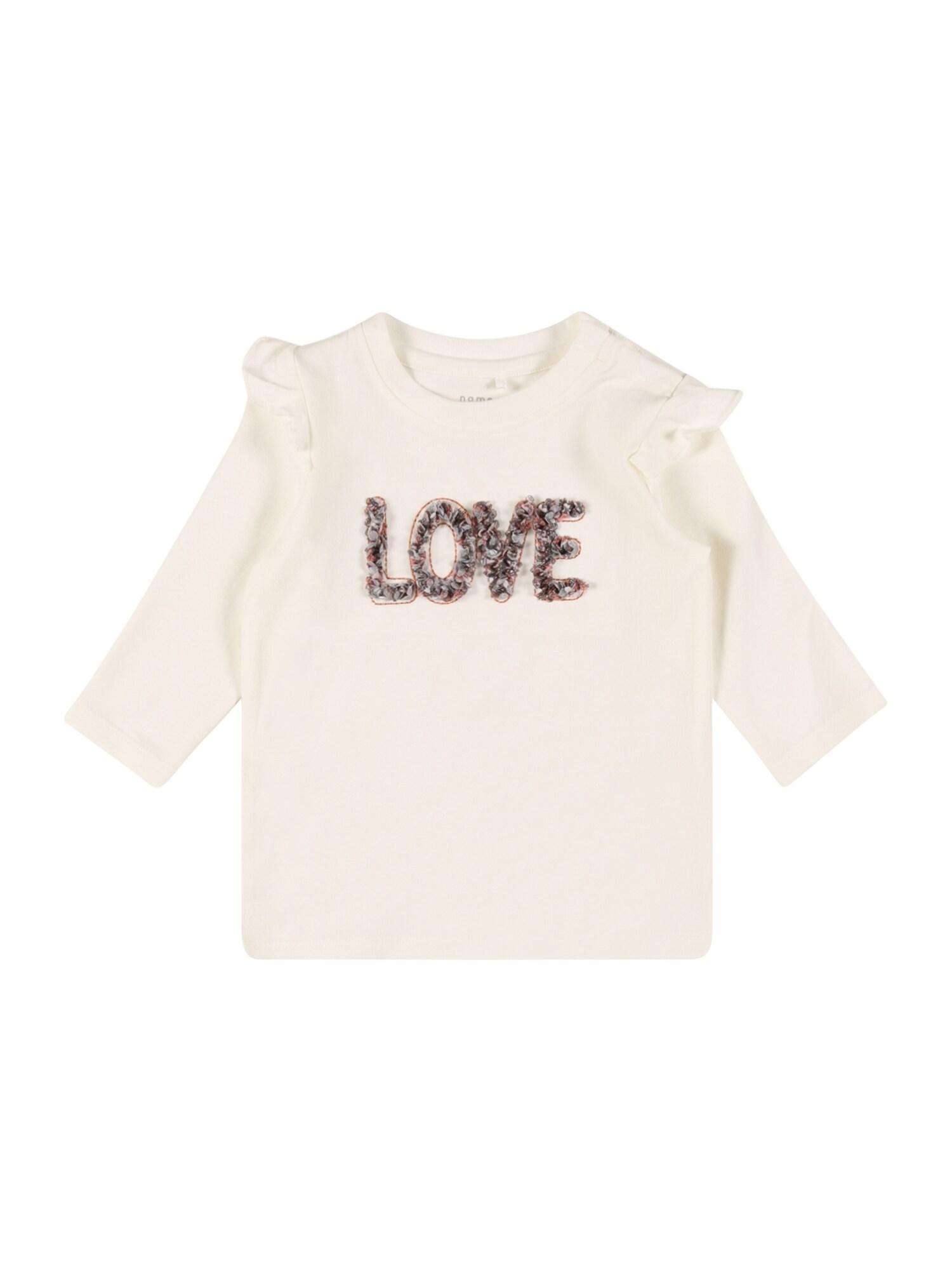 NAME IT Marškinėliai 'DONNA' balta / pilka / omarų spalva