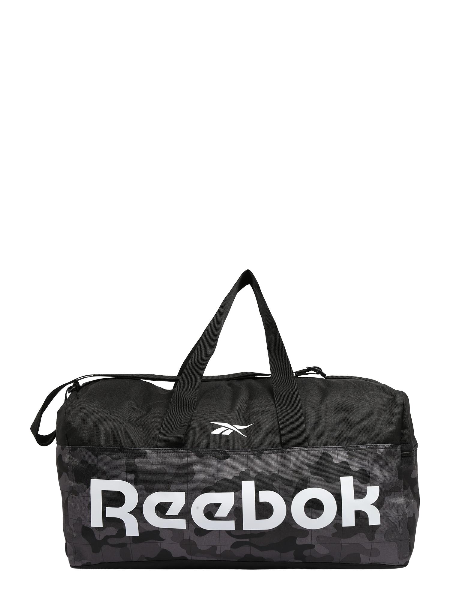 REEBOK Sportinis krepšys juoda / balta / tamsiai pilka / pilka