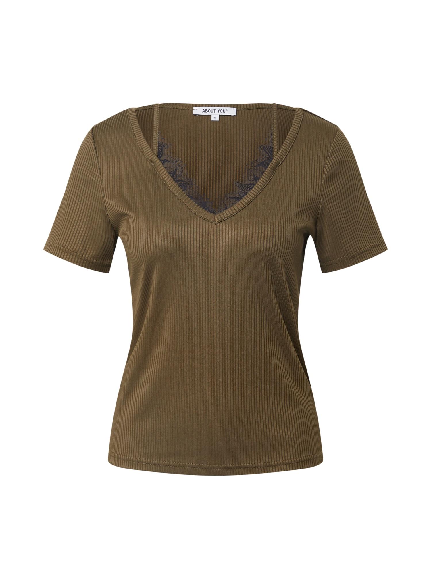 ABOUT YOU Marškinėliai 'Gisa' rusvai žalia