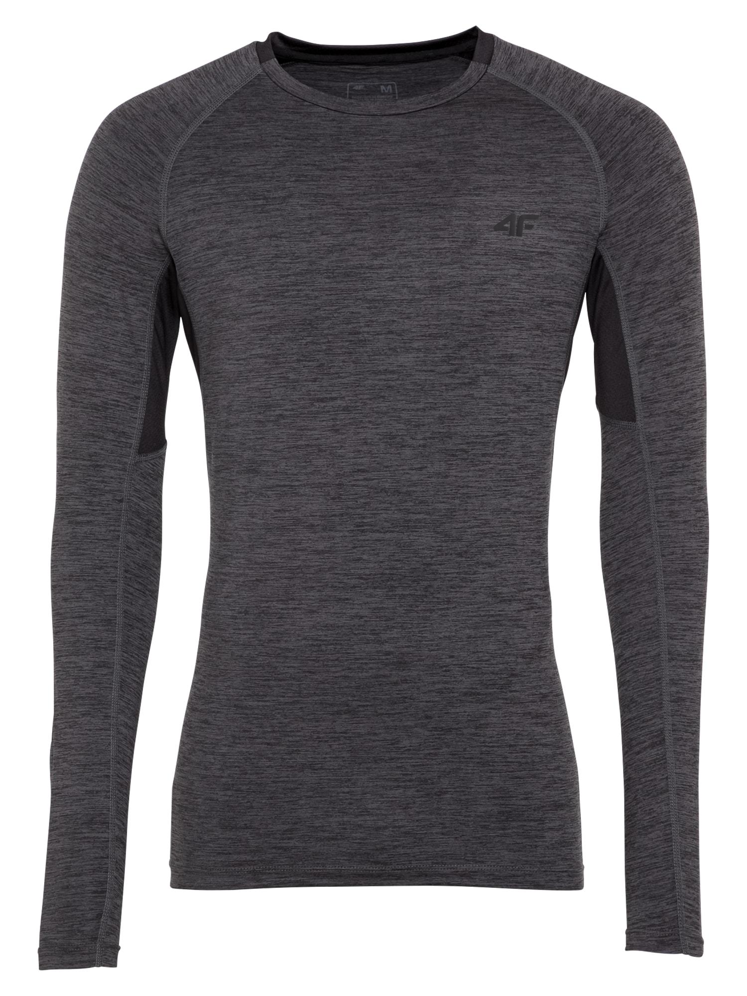 4F Sportiniai marškinėliai tamsiai pilka / juoda