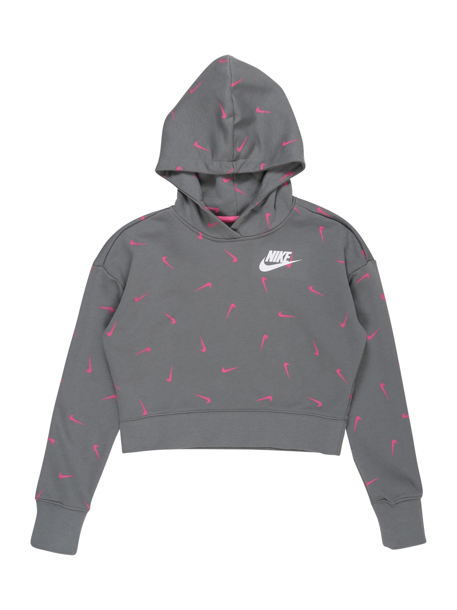 Nike Sportswear Megztinis be užsegimo rožinė / tamsiai pilka / balta