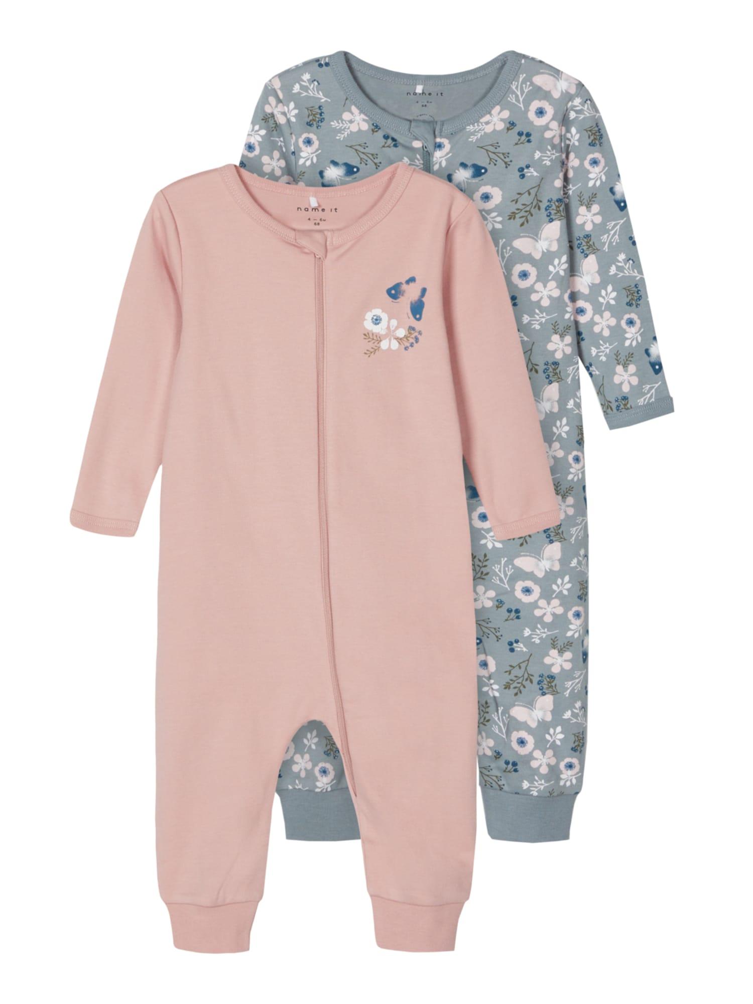 NAME IT Miego kostiumas pilka / tamsiai mėlyna / ryškiai rožinė spalva / rausvai violetinė spalva / balta