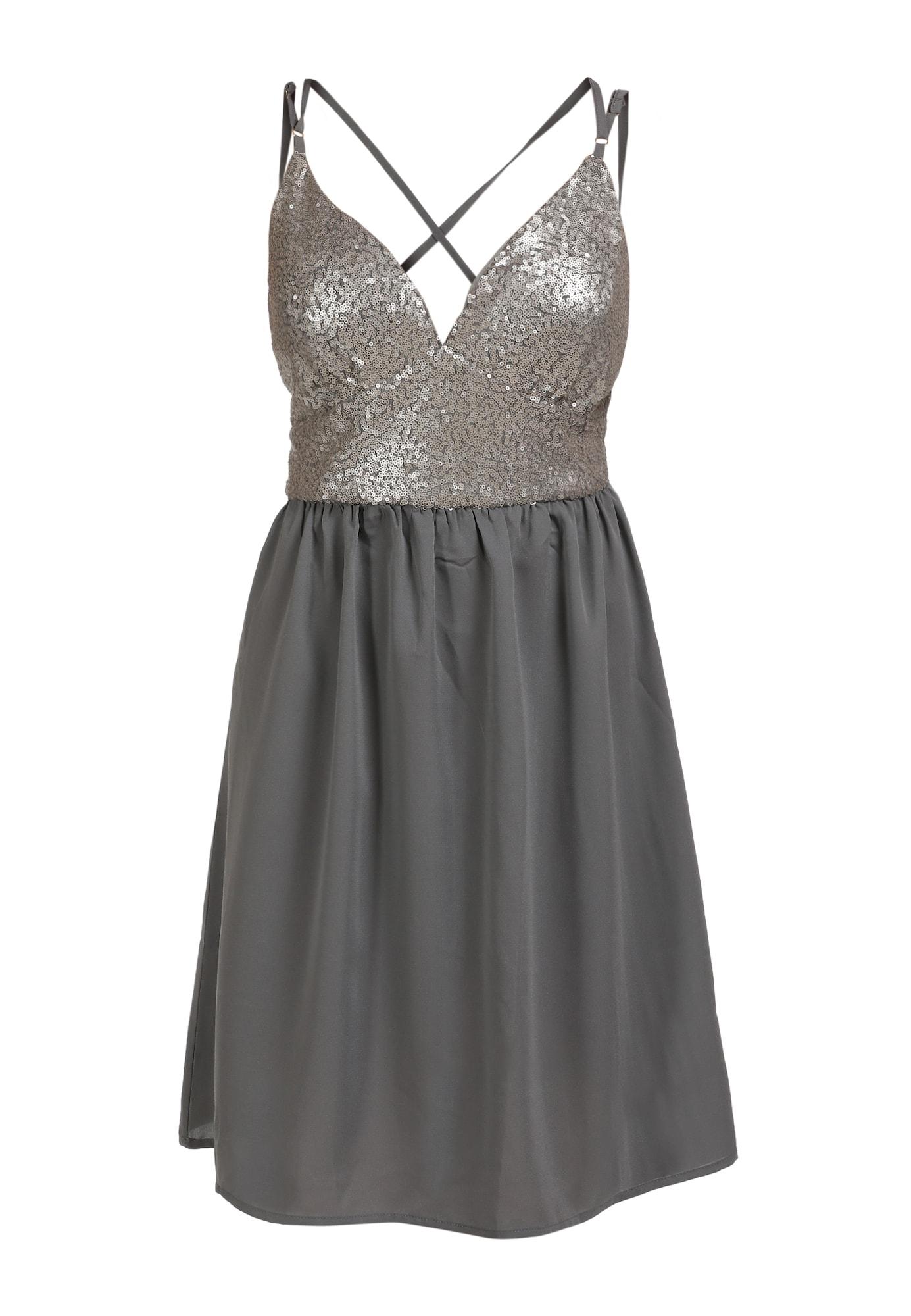 myMo at night Kokteilinė suknelė pilka / tamsiai pilka