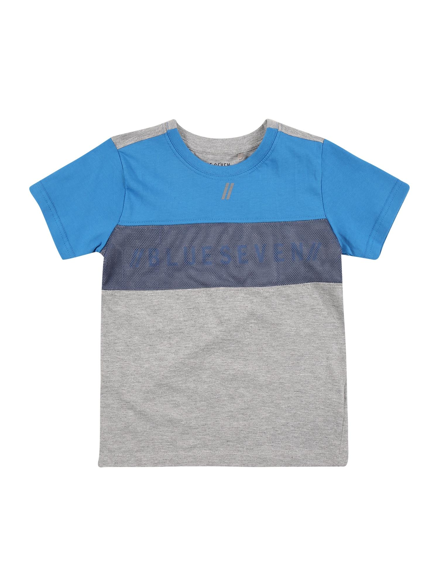 BLUE SEVEN Marškinėliai šviesiai mėlyna / tamsiai mėlyna / margai pilka