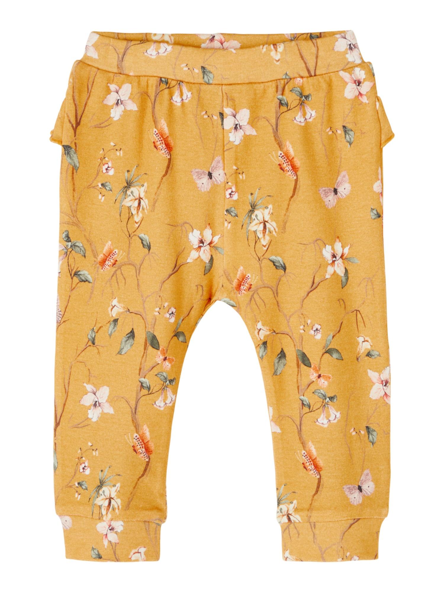 NAME IT Kelnės 'Fiola' rusvai oranžinė / ryškiai rožinė spalva / balta / gelsvai pilka spalva / rusvai žalia