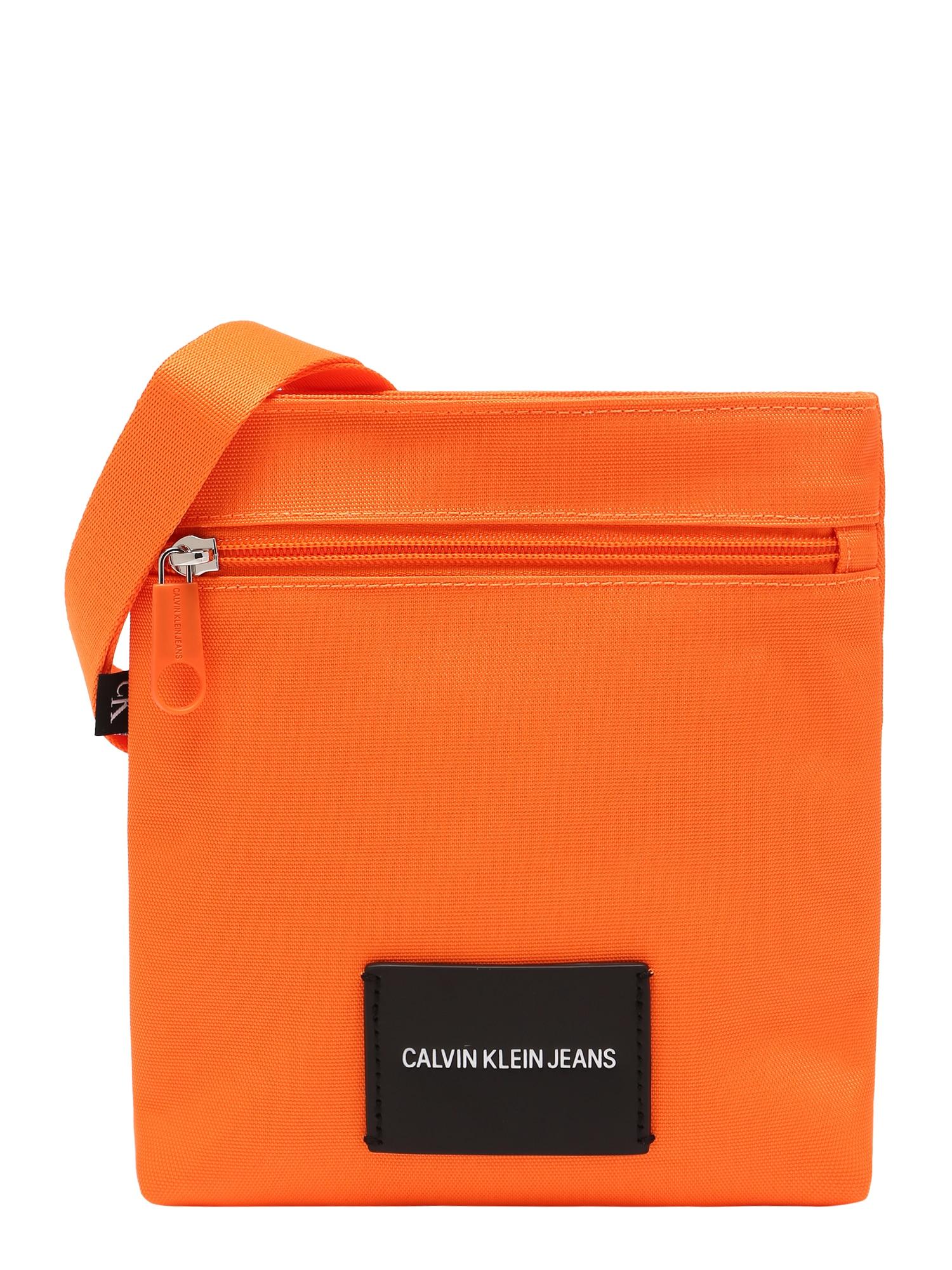 Calvin Klein Jeans Rankinė su ilgu dirželiu šviesiai oranžinė / juoda / balta