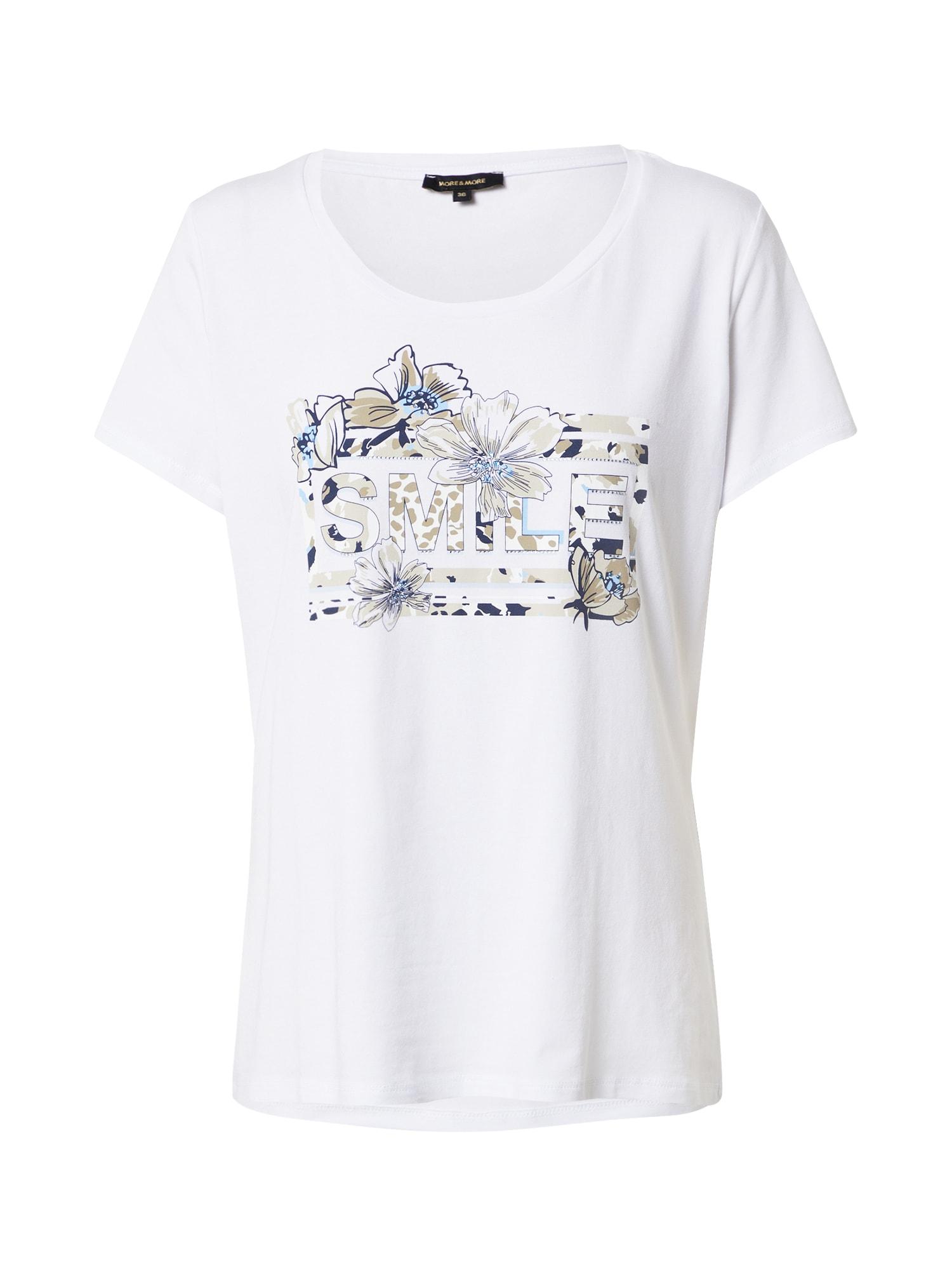 MORE & MORE Marškinėliai balta / smėlio spalva / tamsiai mėlyna jūros spalva / šviesiai mėlyna