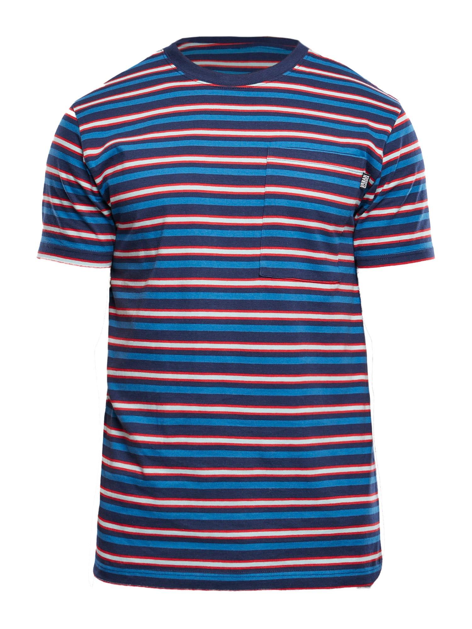 Urban Classics Big & Tall Marškinėliai tamsiai mėlyna / raudona / dangaus žydra / balta