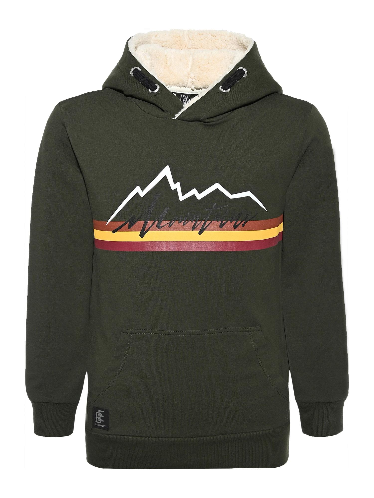 BLUE EFFECT Megztinis be užsegimo 'Mountains' rusvai žalia / raudona / balta / geltona
