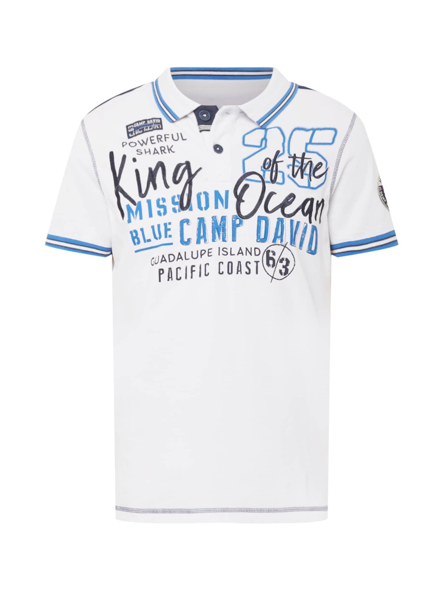 CAMP DAVID Marškinėliai balkšva / mėlyna dūmų spalva / nakties mėlyna / dangaus žydra