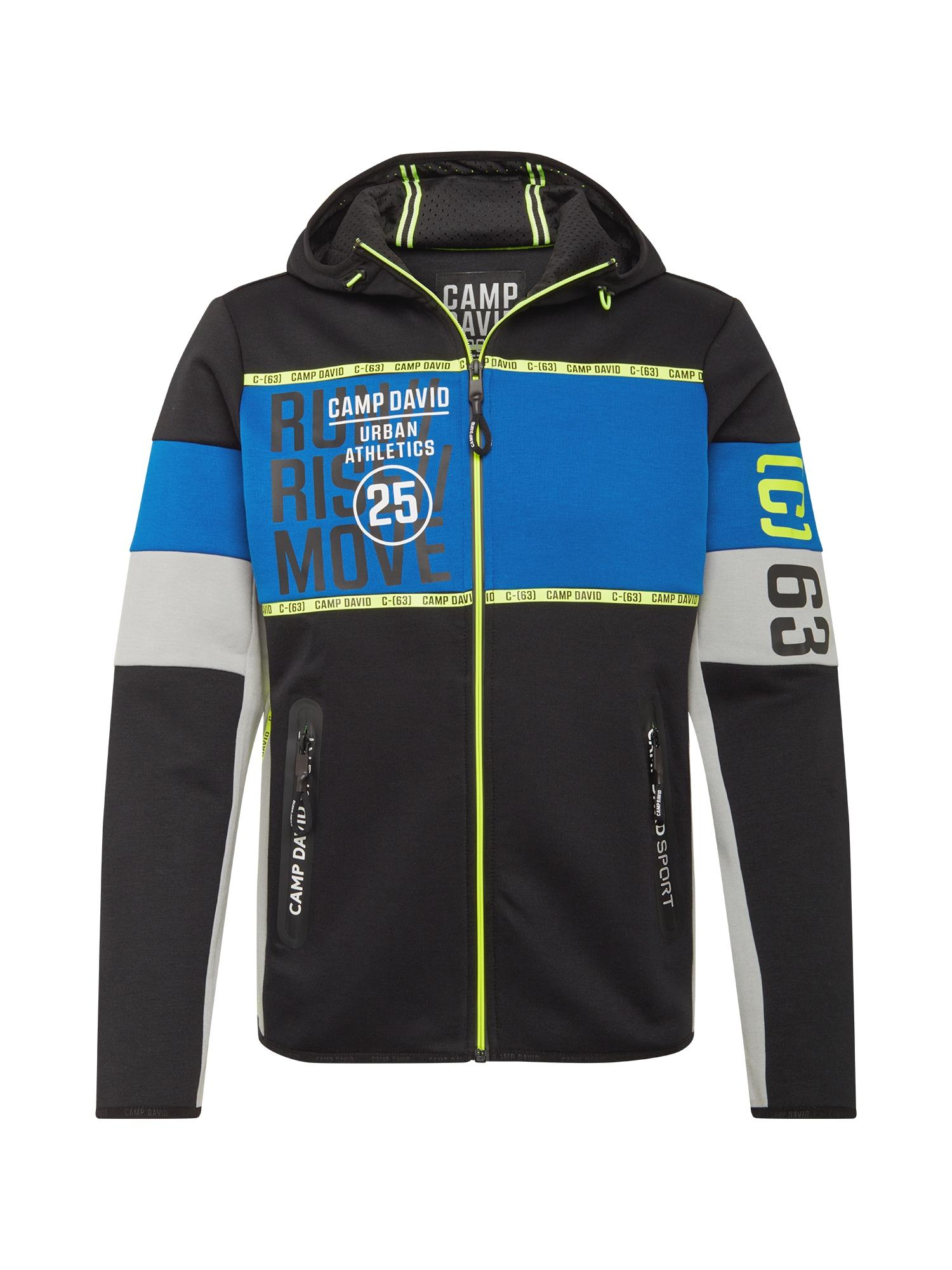 CAMP DAVID Džemperis juoda / mėlyna / margai pilka / neoninė žalia / balta