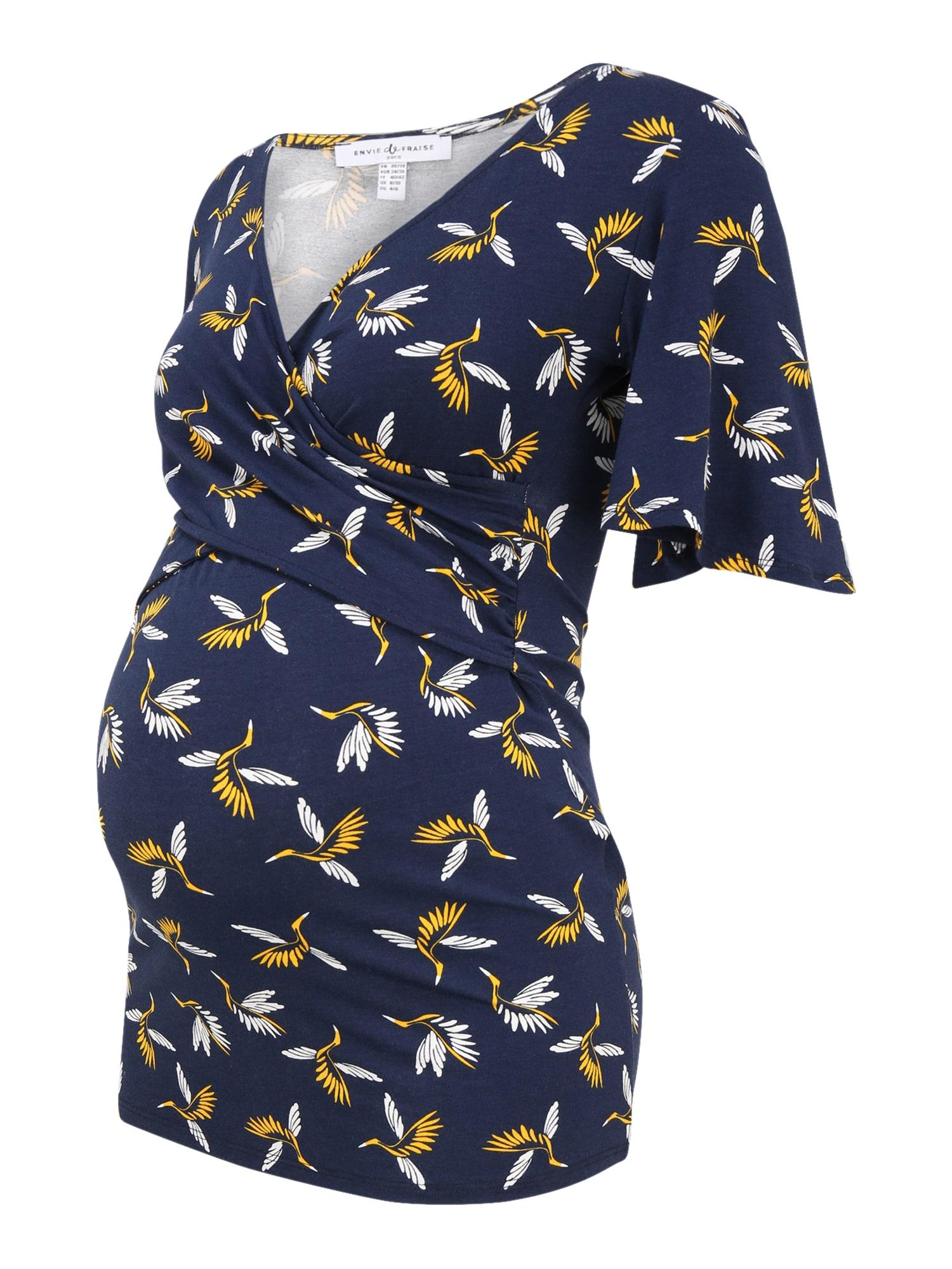 Envie de Fraise Marškinėliai tamsiai mėlyna / balta / aukso geltonumo spalva