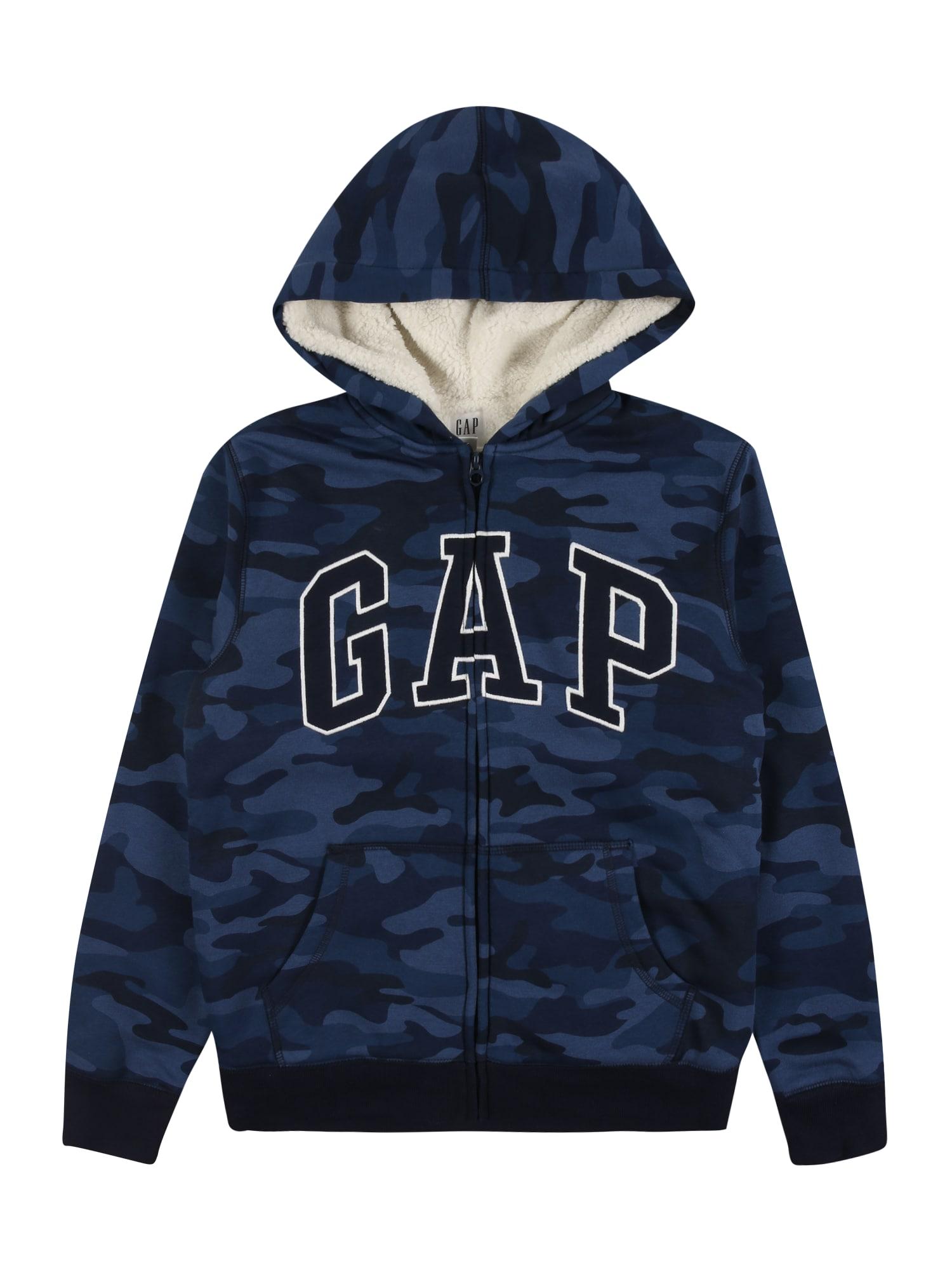 GAP Džemperis mėlyna / tamsiai mėlyna / balta