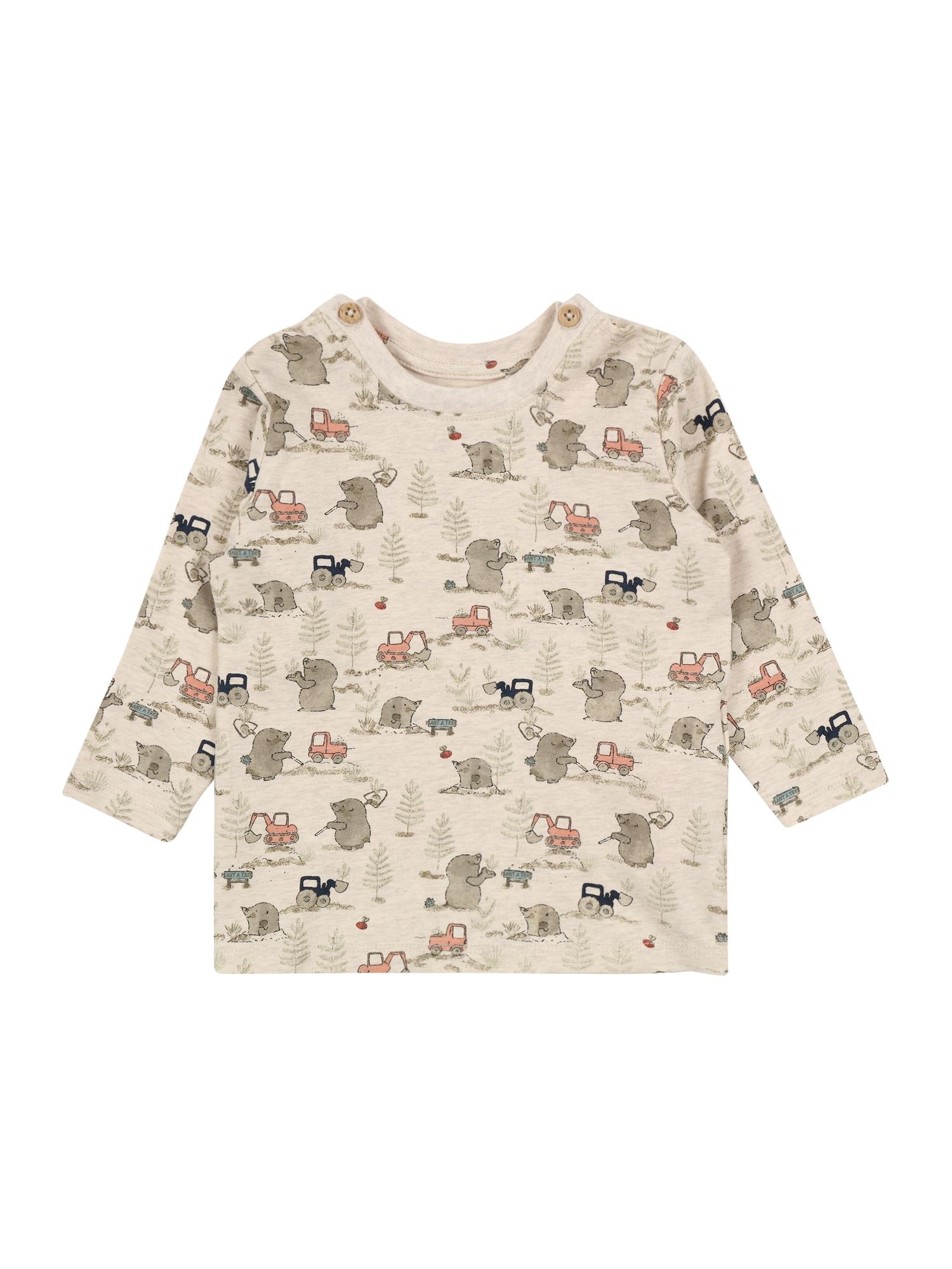 NAME IT Marškinėliai 'DITOM' smėlio / pilka / pastelinė raudona