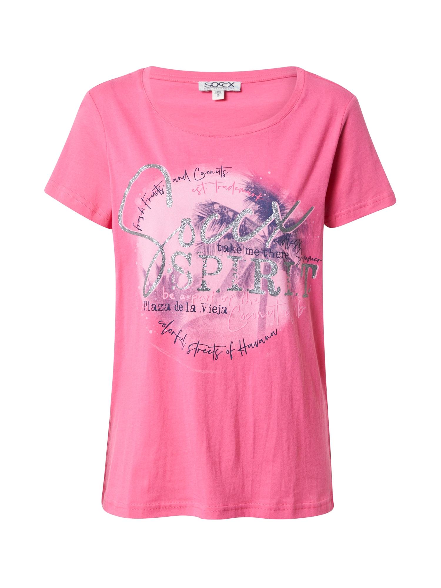 Soccx Marškinėliai rožinė / sidabrinė / tamsiai violetinė / pastelinė rožinė