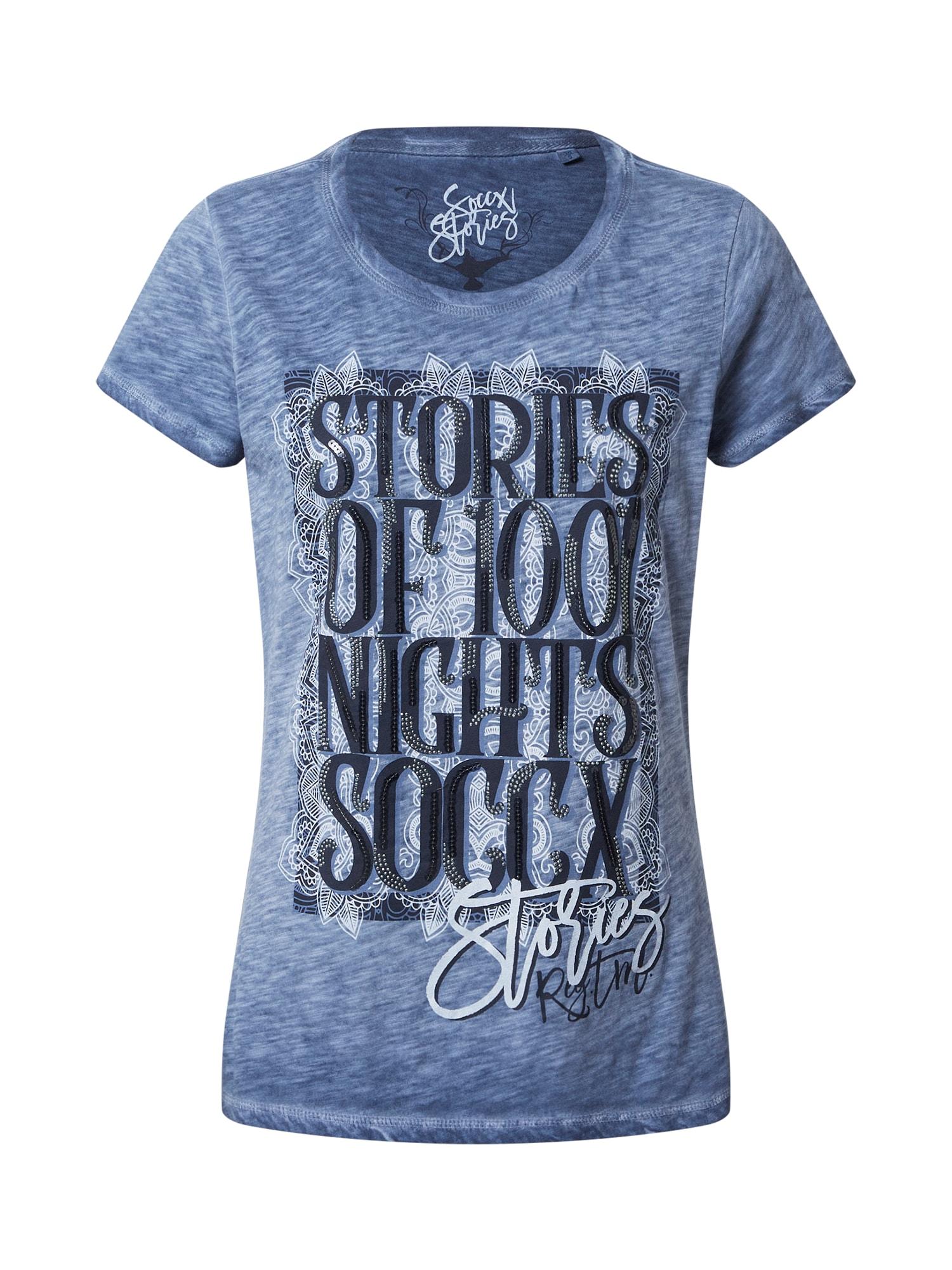 Soccx Marškinėliai melsvai pilka / nakties mėlyna / azuro