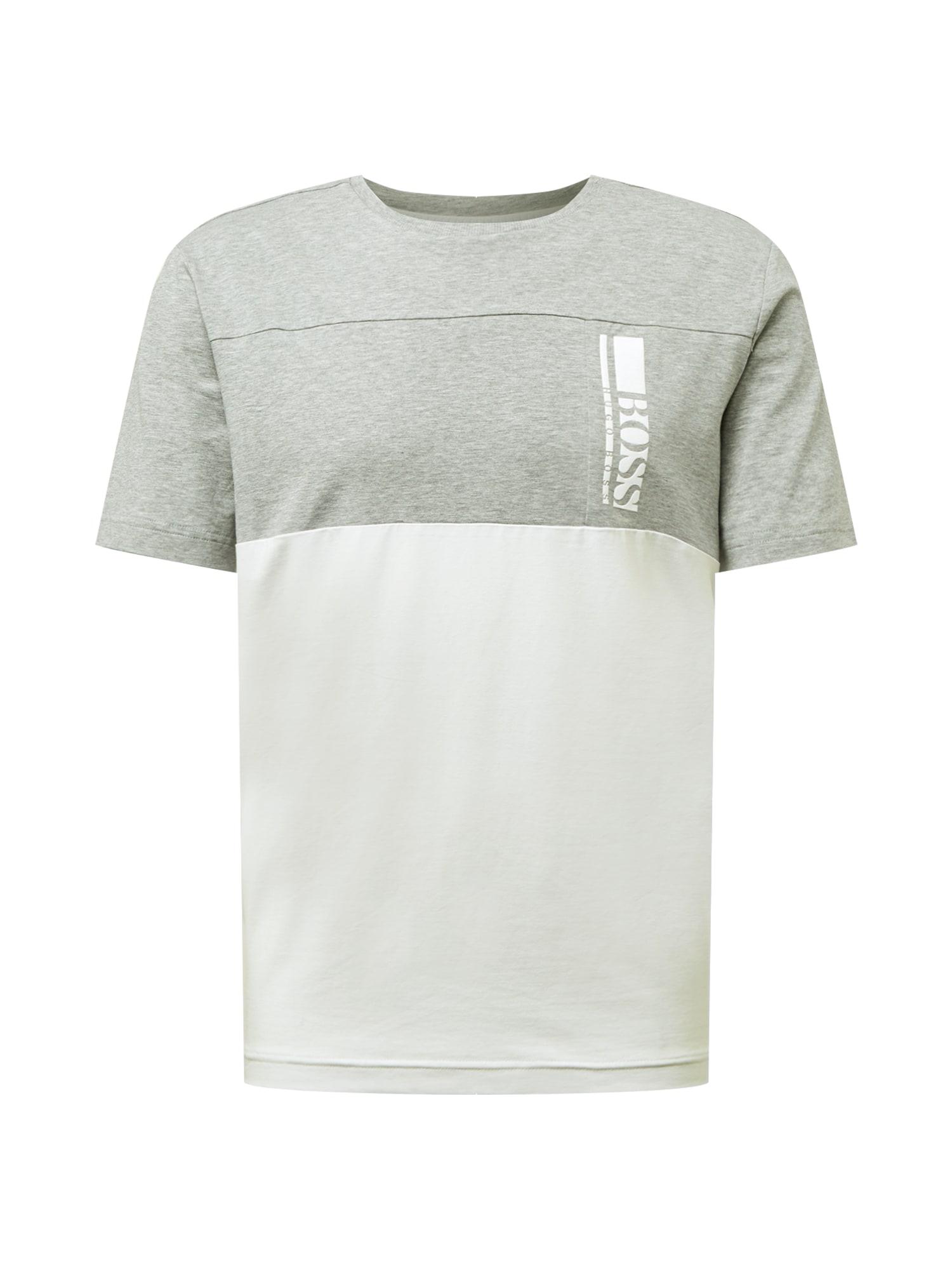 BOSS ATHLEISURE Marškinėliai margai pilka / balta