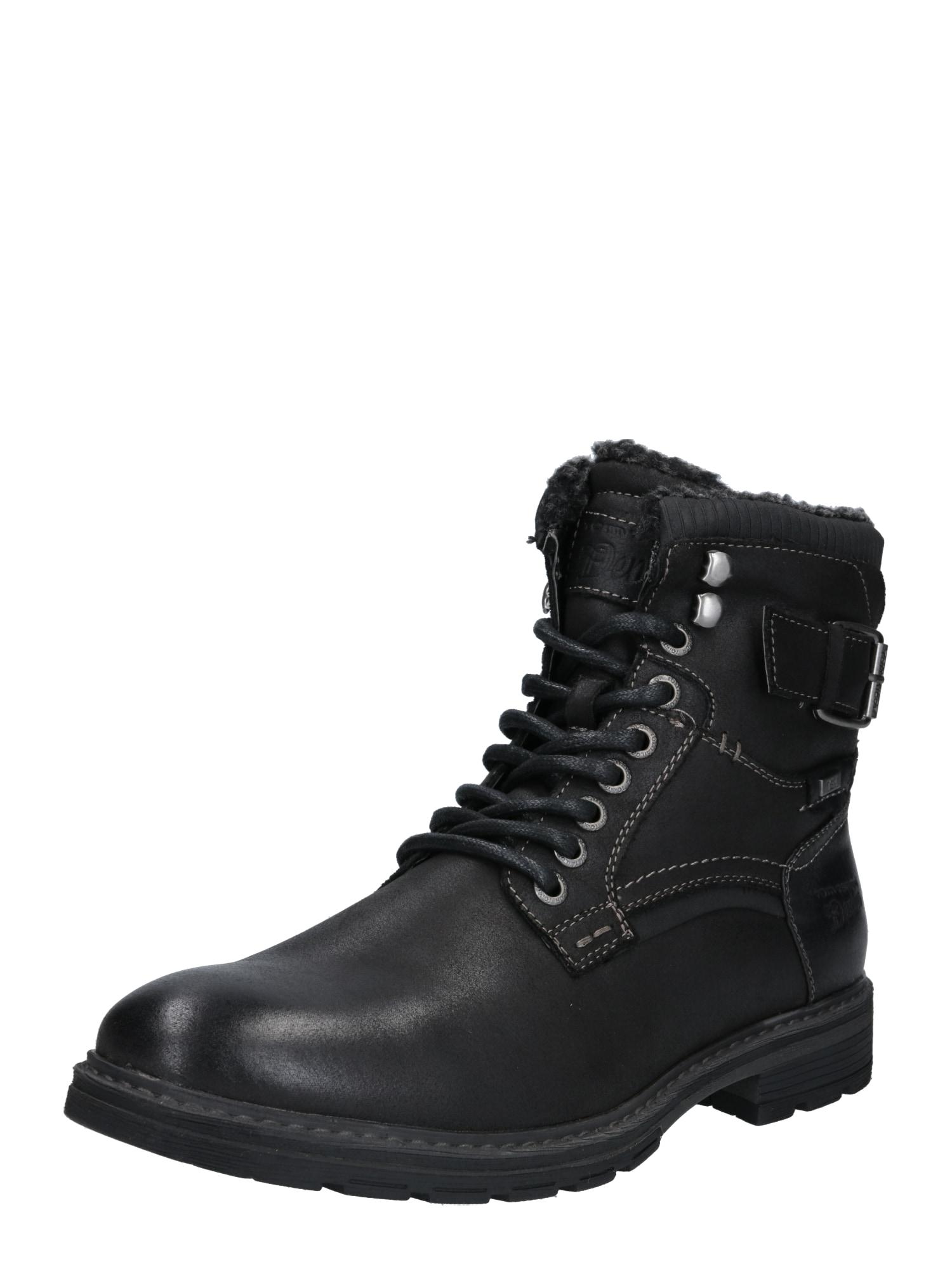TOM TAILOR DENIM Auliniai batai su raišteliais juoda