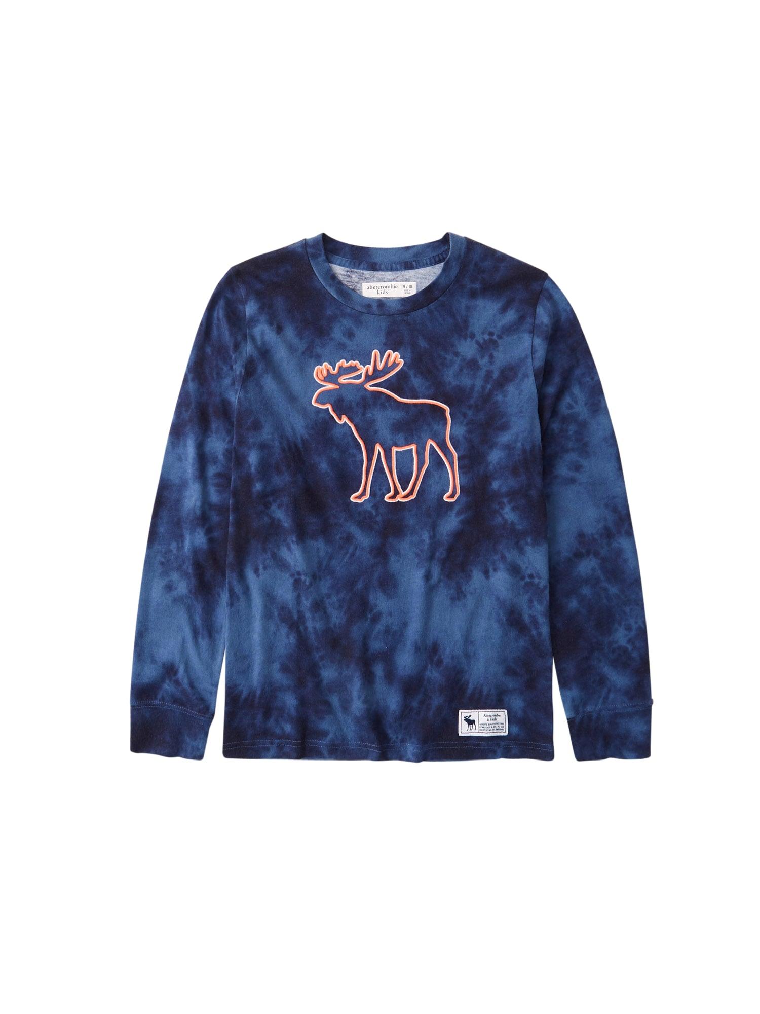Abercrombie & Fitch Marškinėliai margai mėlyna / nakties mėlyna / tamsiai oranžinė / balta