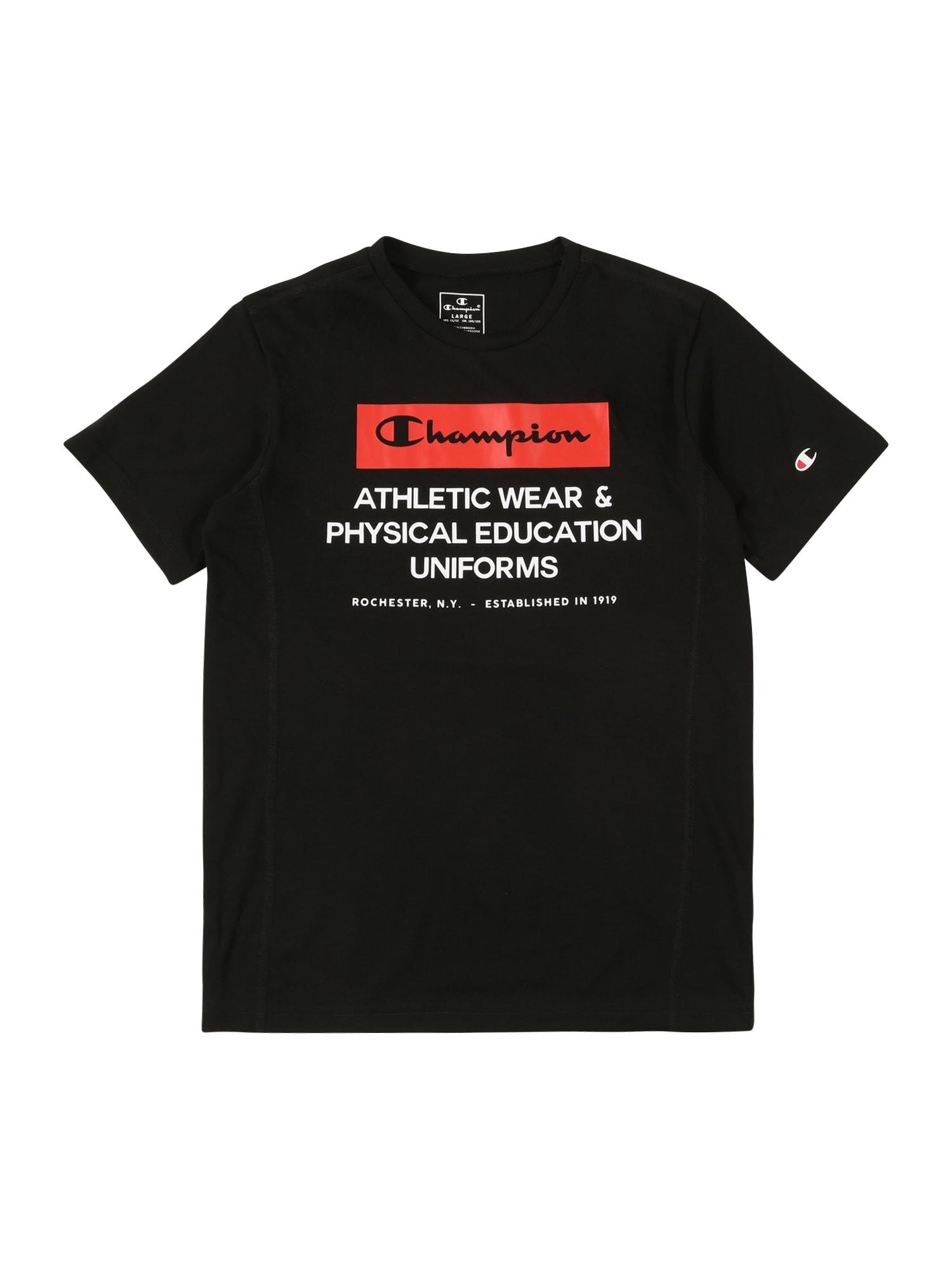 Champion Authentic Athletic Apparel Marškinėliai balta / juoda / raudona