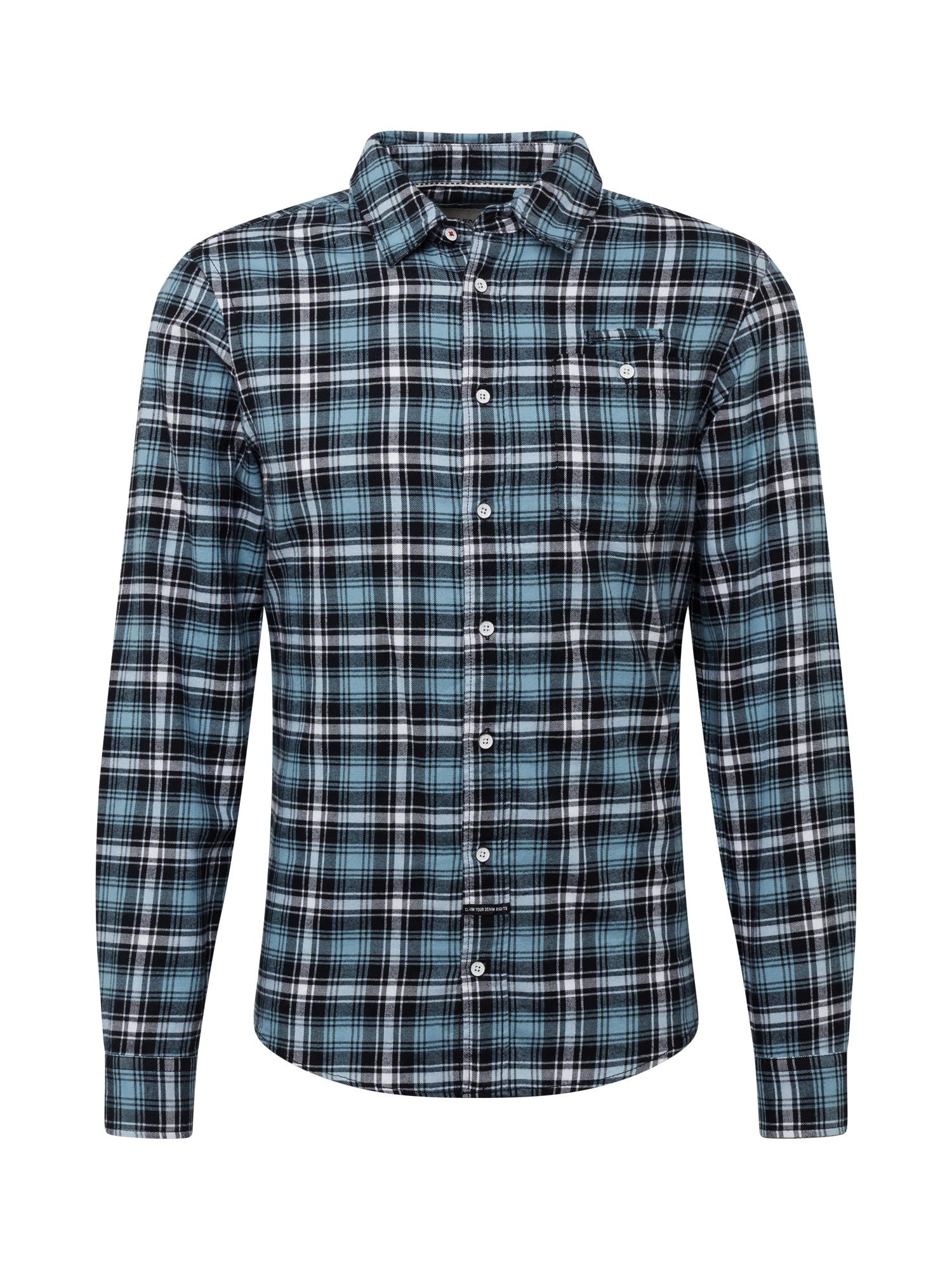 BLEND Marškiniai mėlyna / balta / juoda
