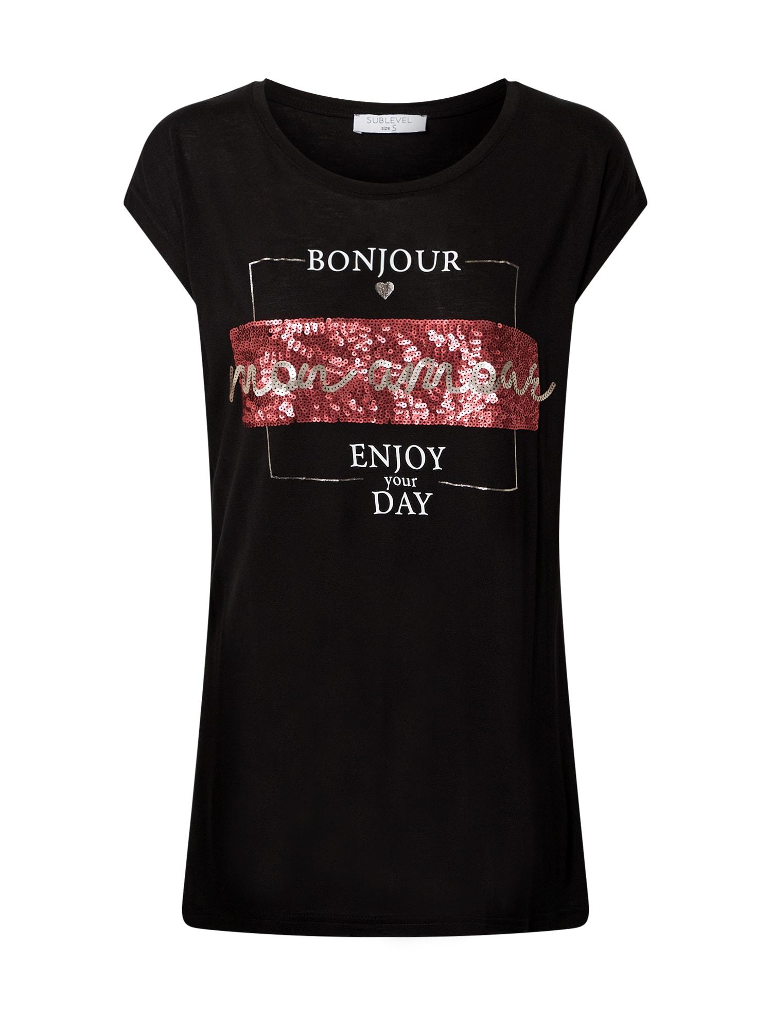 Sublevel Marškinėliai juoda / raudona / balta