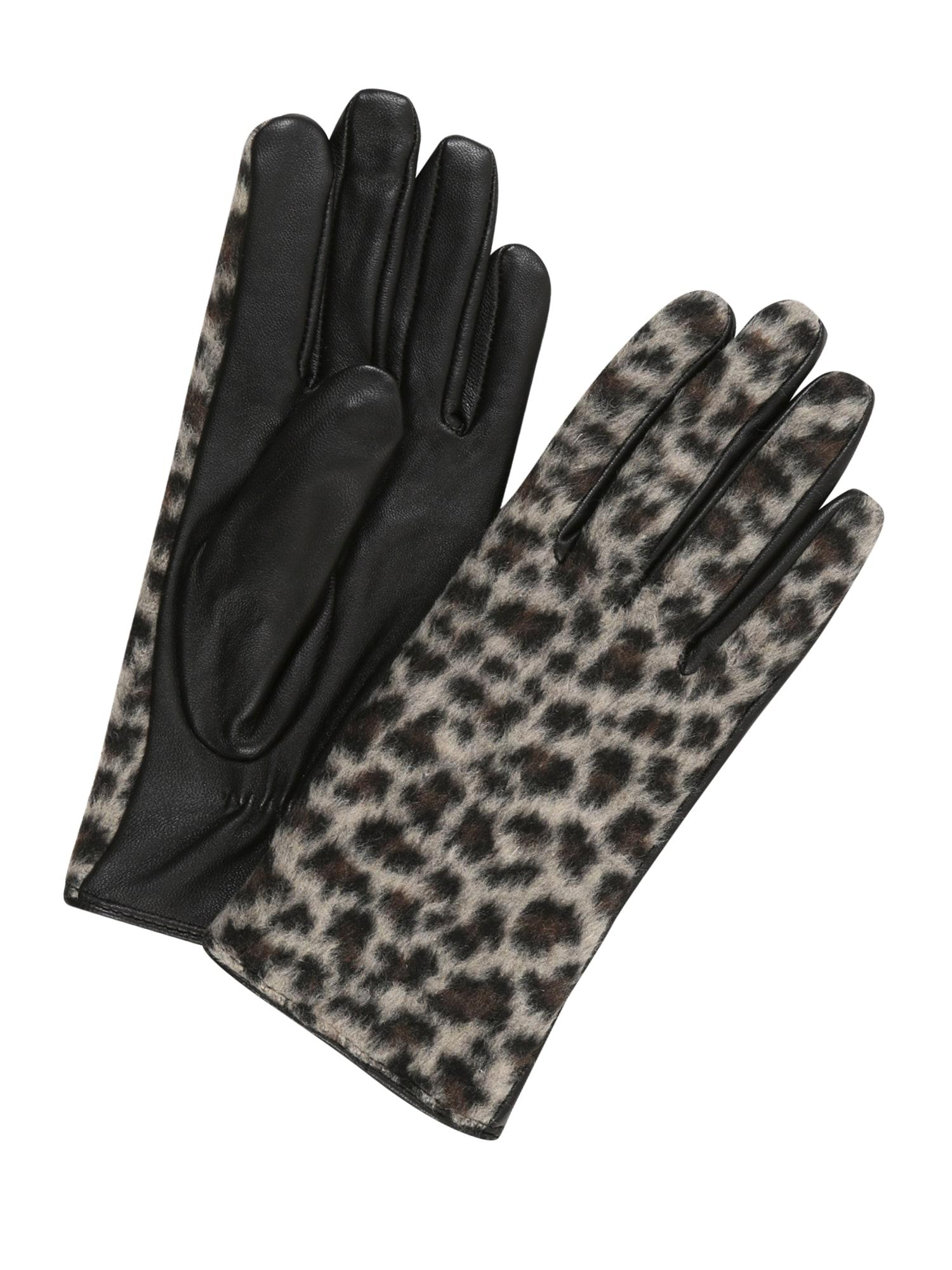 PIECES Prstové rukavice 'Eleo'  béžová / černá / hnědá
