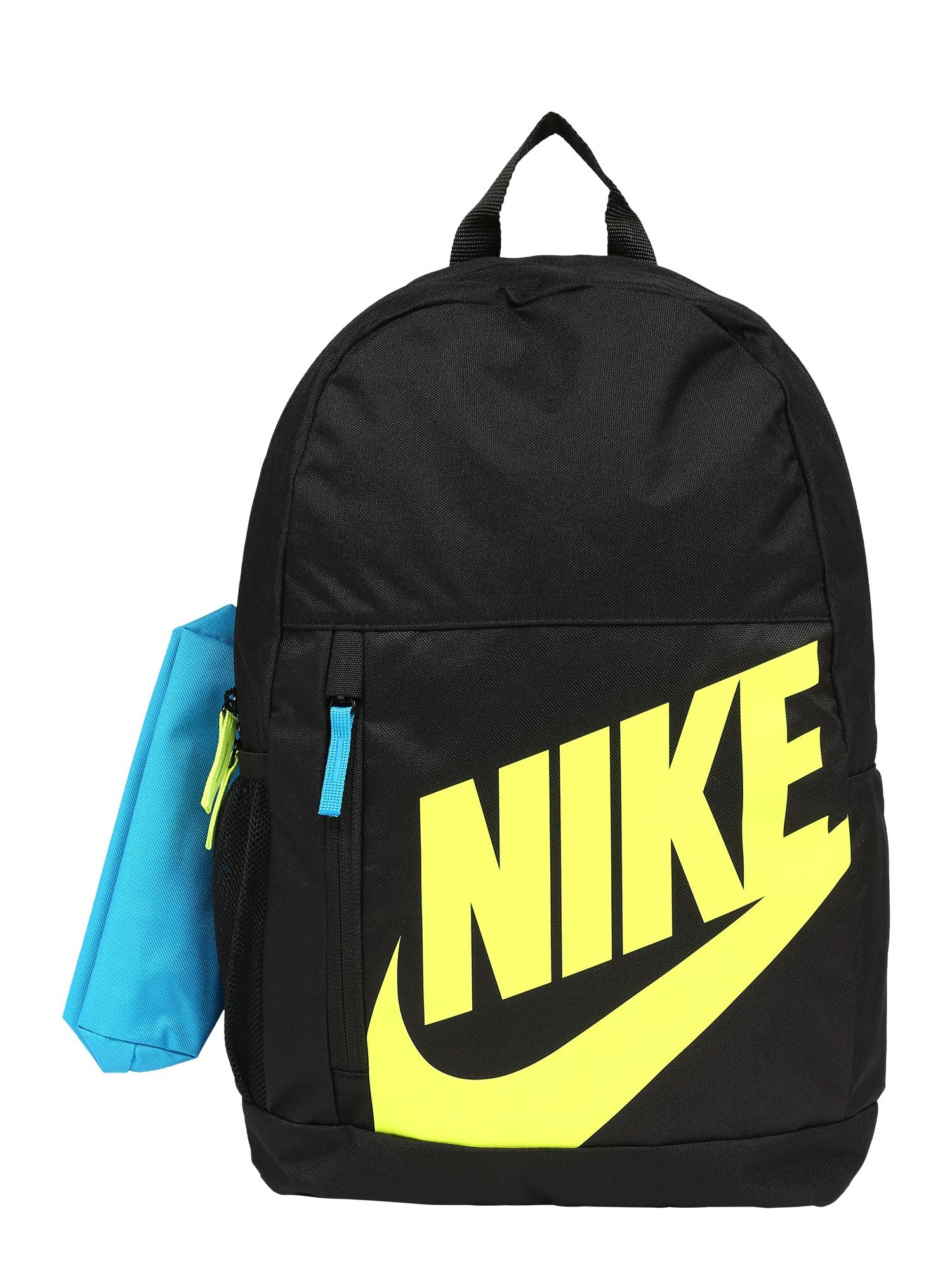 NIKE Sportinė kuprinė juoda / šviesiai mėlyna / geltona