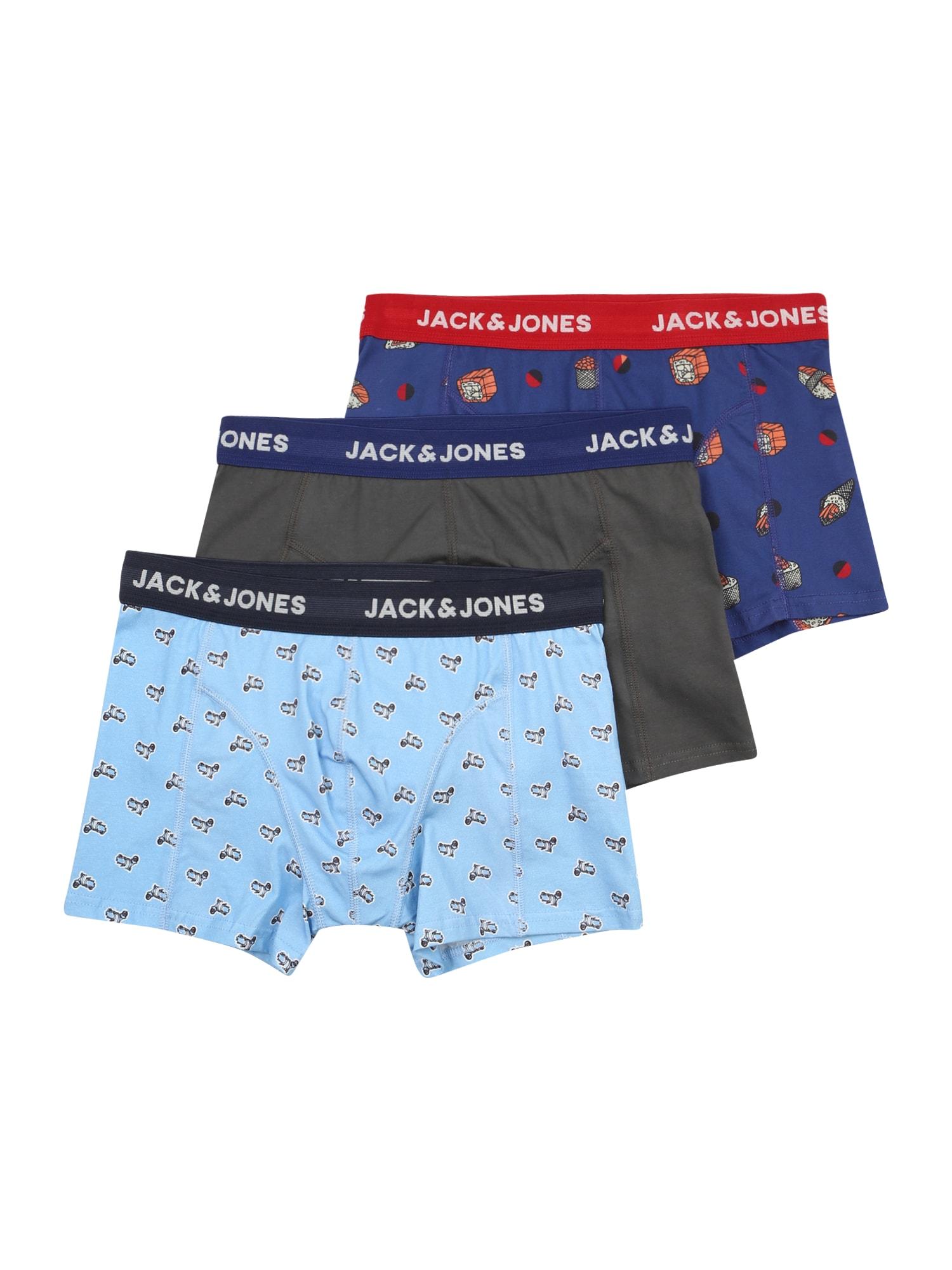 JACK & JONES Boxer trumpikės žolės žalia / šviesiai mėlyna / tamsiai mėlyna jūros spalva / mišrios spalvos