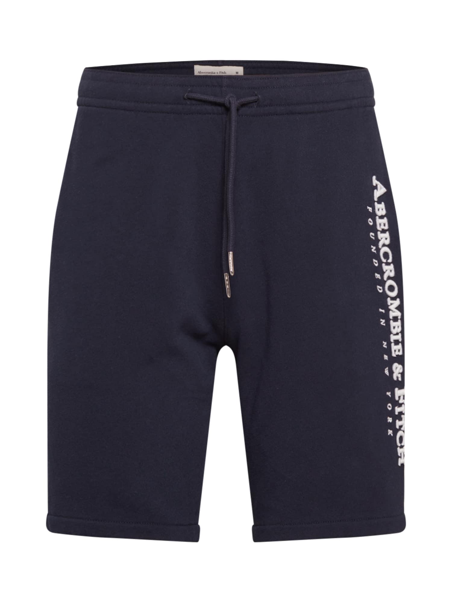 Abercrombie & Fitch Kelnės balta / ultramarino mėlyna (skaidri)