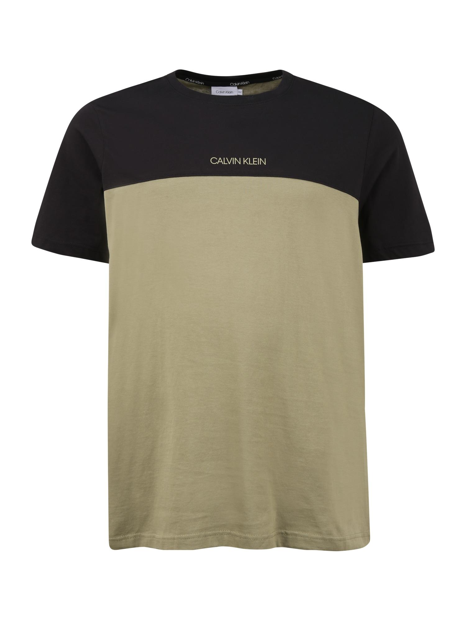 Calvin Klein Tričko  tmavě zelená / pastelově zelená