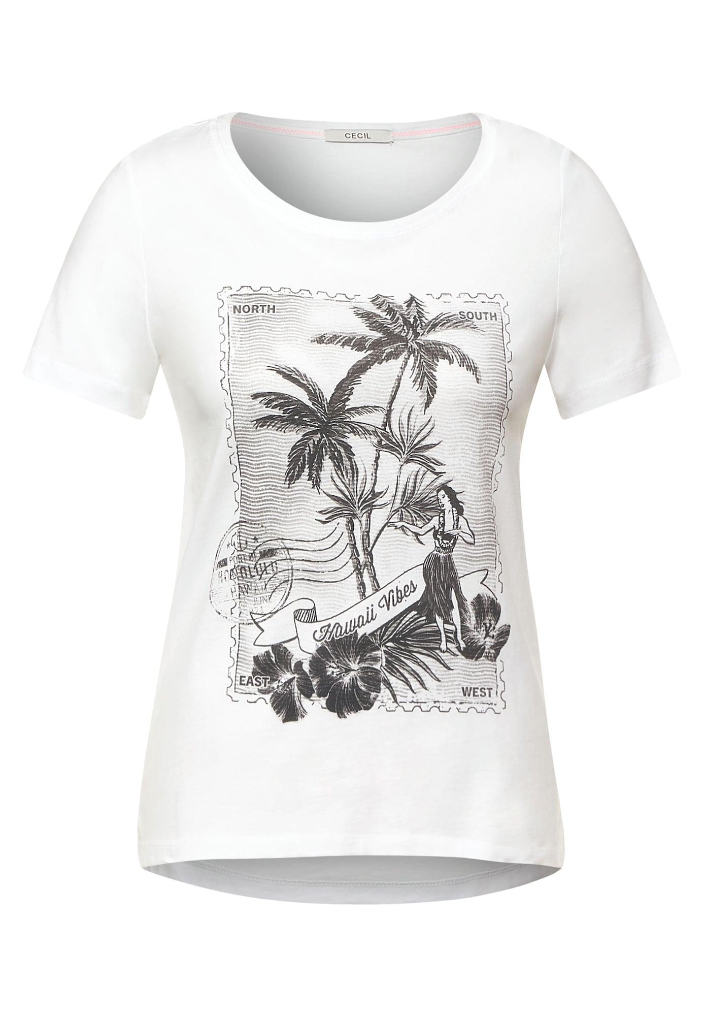 CECIL Marškinėliai balta / juoda / pilka