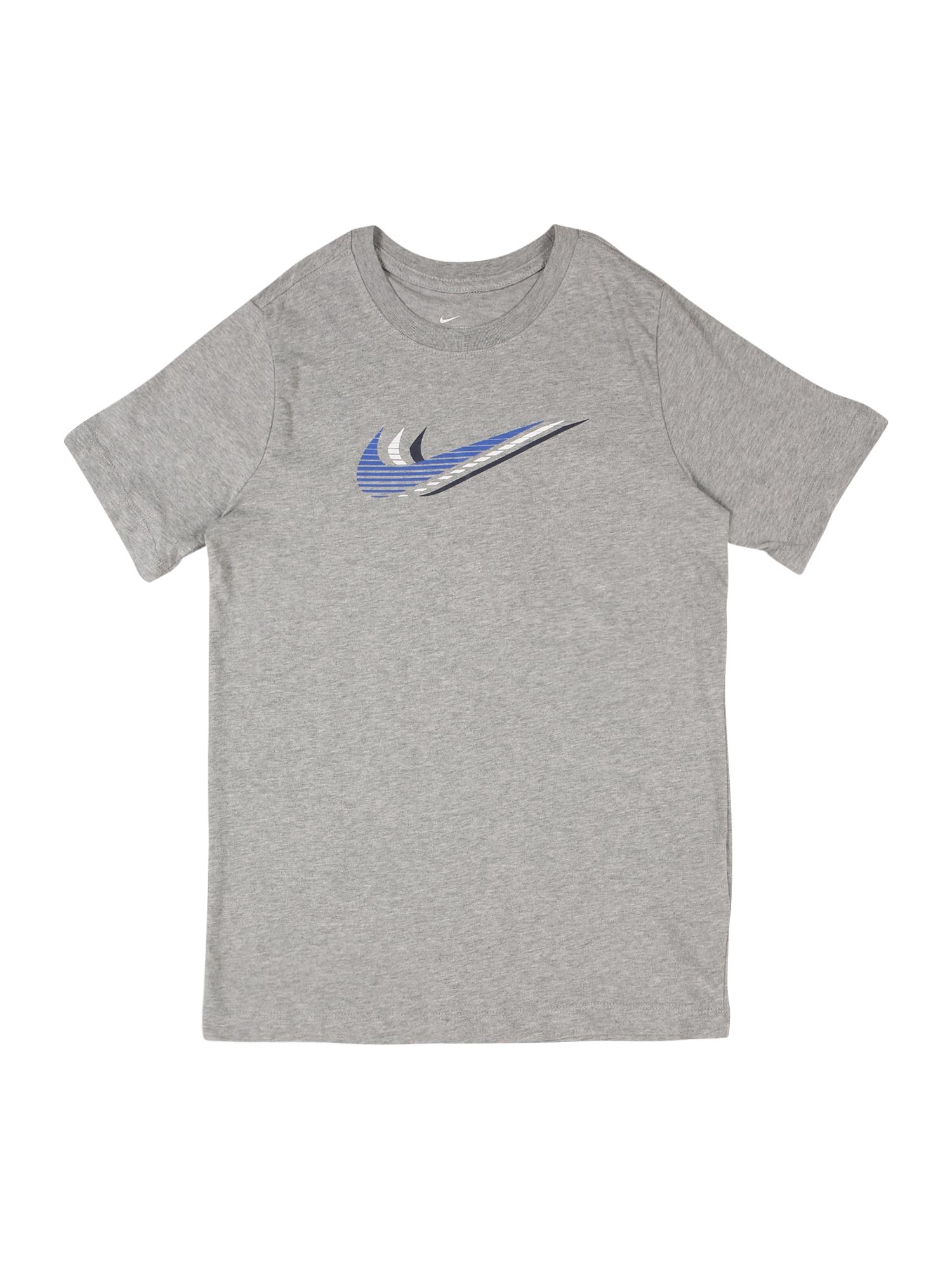Nike Sportswear Tričko  sivá melírovaná / biela / modrá