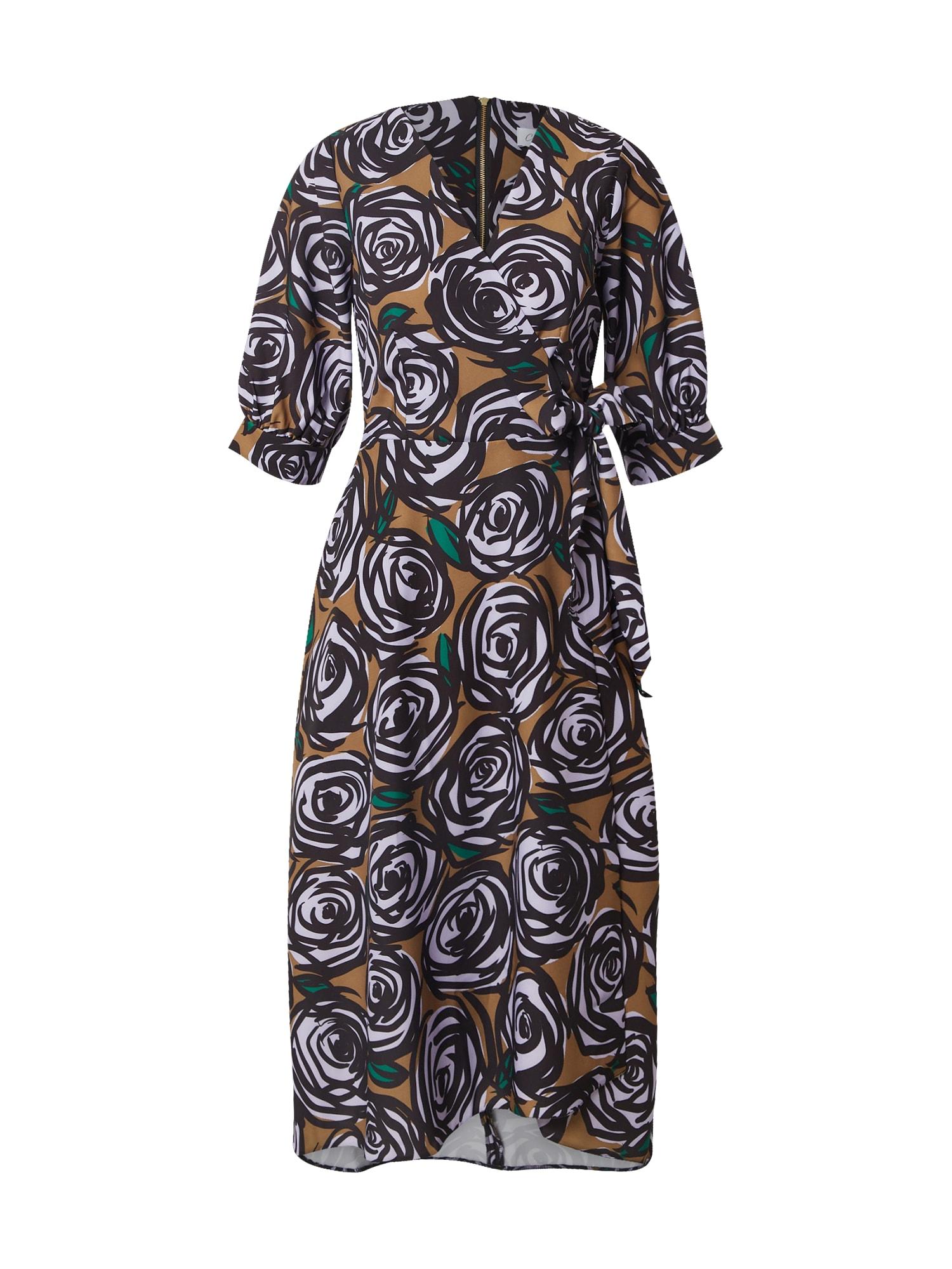 Closet London Suknelė ruda / juoda / balta / žalia