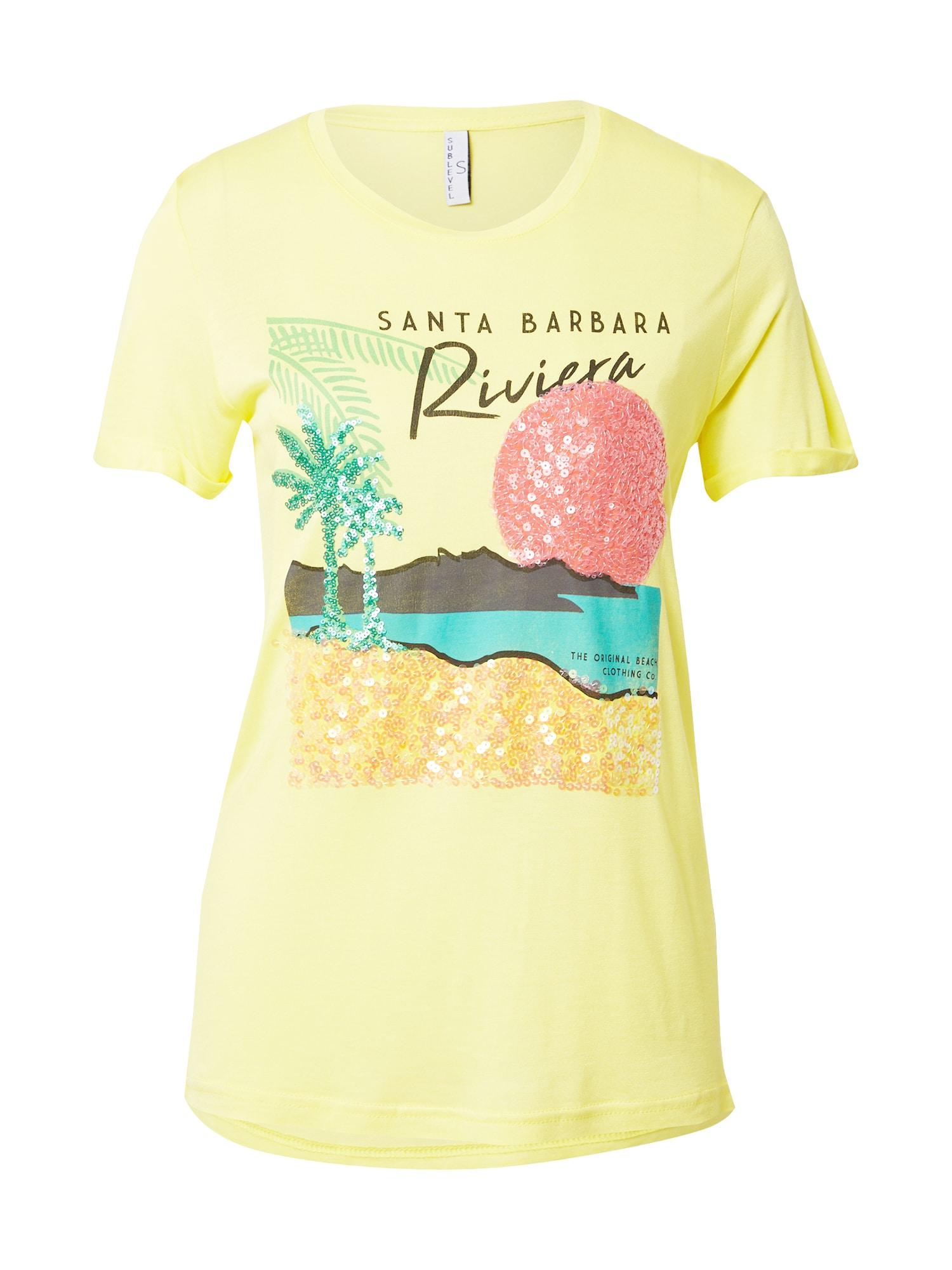 Sublevel Marškinėliai geltona / turkio spalva / antracito spalva / šviesiai raudona