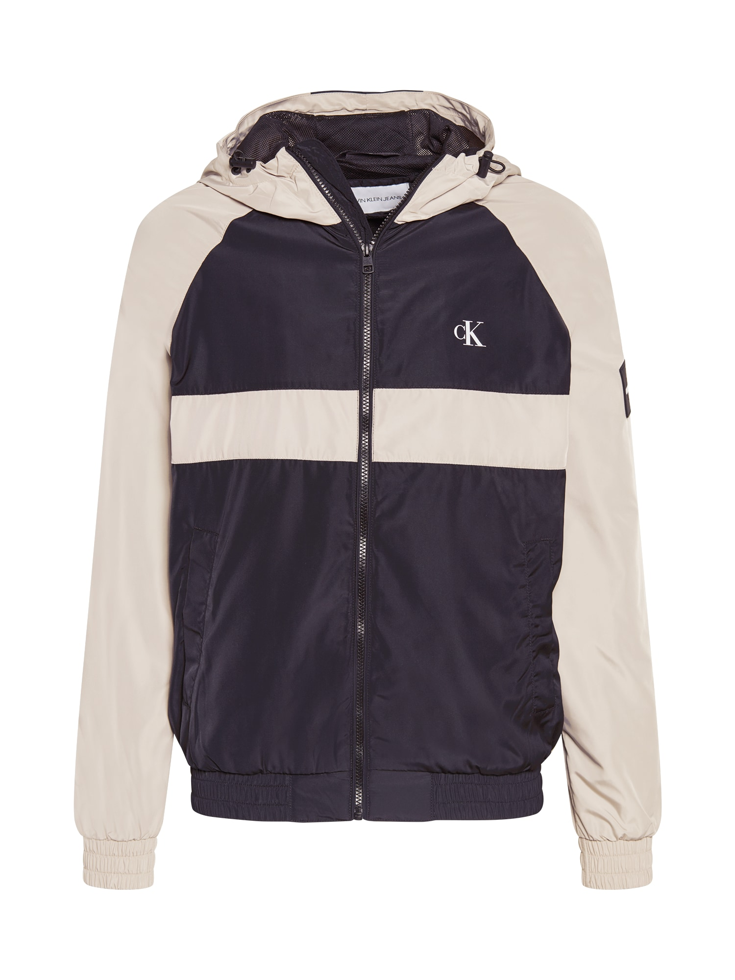 Calvin Klein Jeans Demisezoninė striukė juoda / smėlio spalva