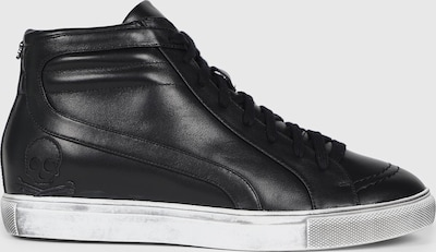 Leather sneaker boots. Lace-up and zip fastening with rubber sole.