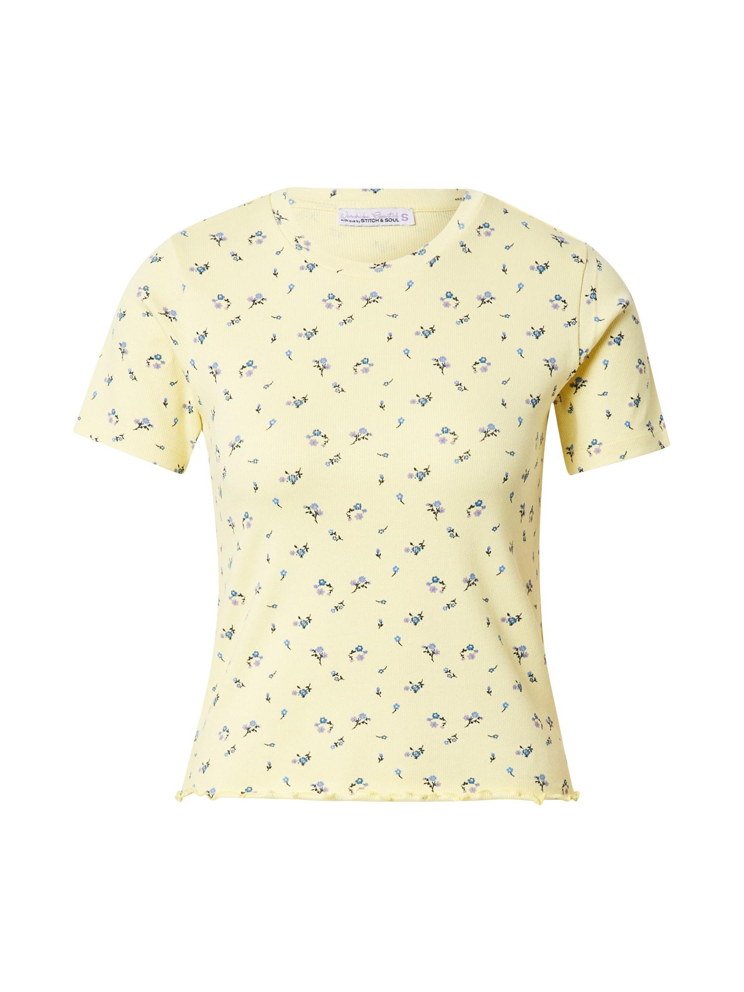 Stitch and Soul Marškinėliai šviesiai geltona / šviesiai mėlyna / purpurinė / juoda