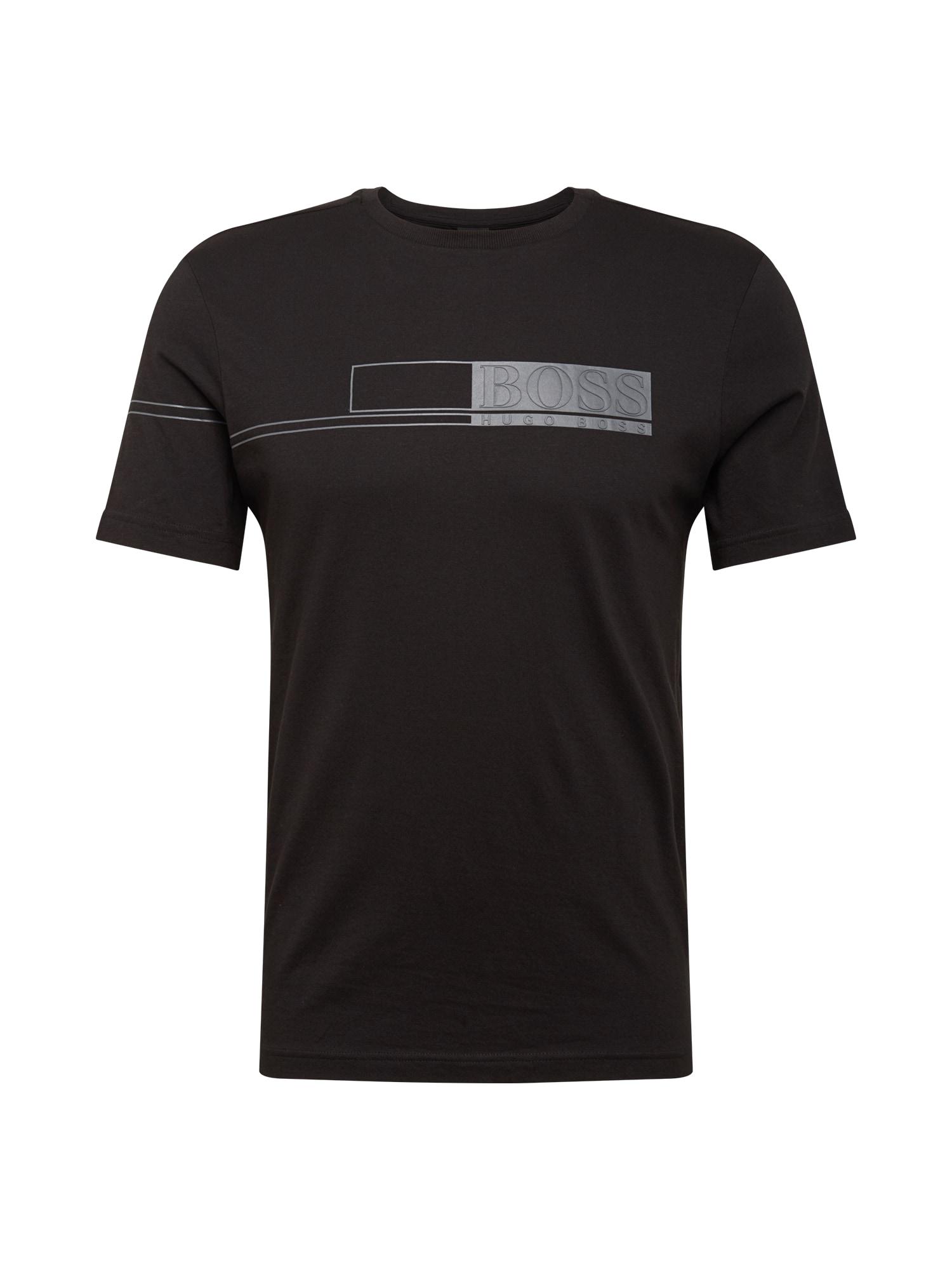 BOSS ATHLEISURE Marškinėliai juoda / pilka