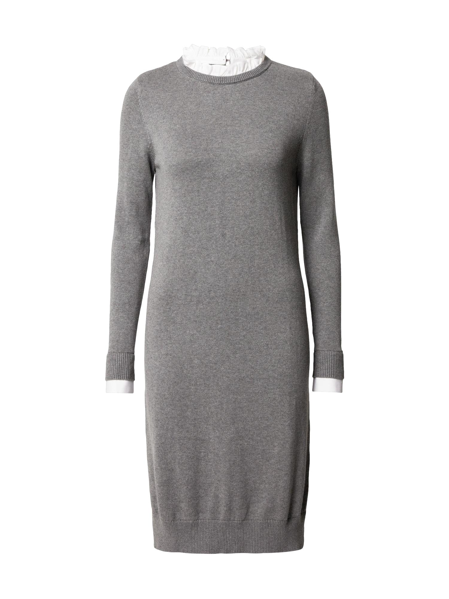 ESPRIT Megzta suknelė pilka / balta